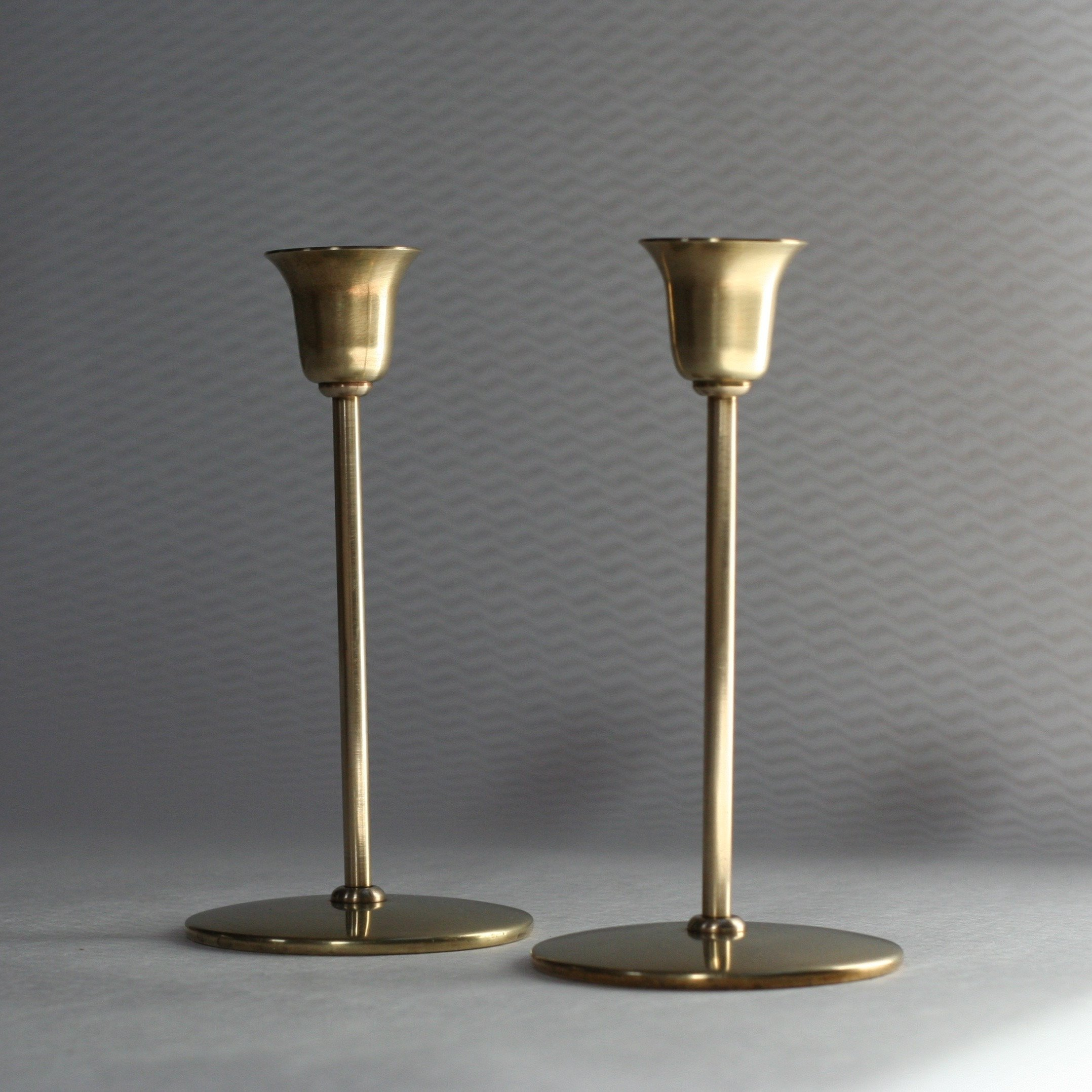 Vintage Pair Of Br Candle Holders