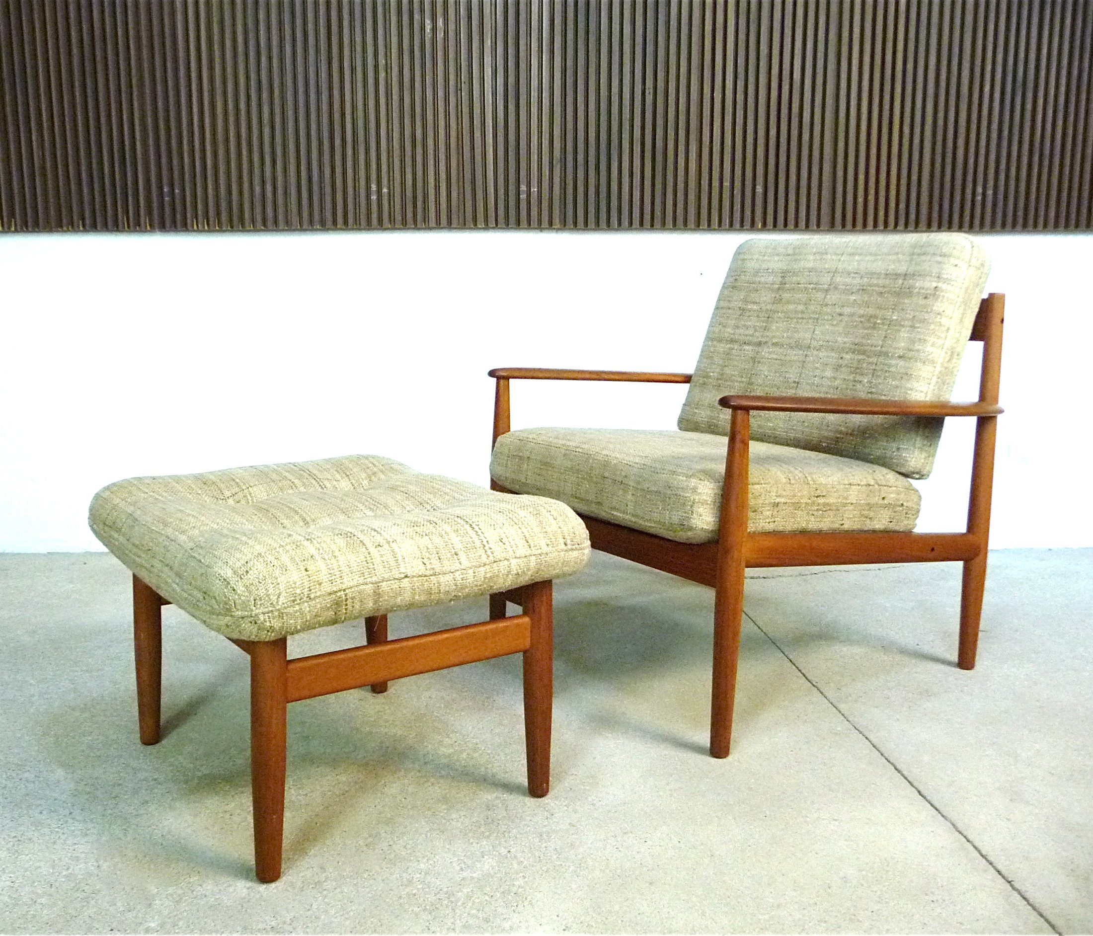 Phenomenal Danish Teak Wool Easy Chair Ottoman By Grete Jalk For Cado 1960S Pabps2019 Chair Design Images Pabps2019Com