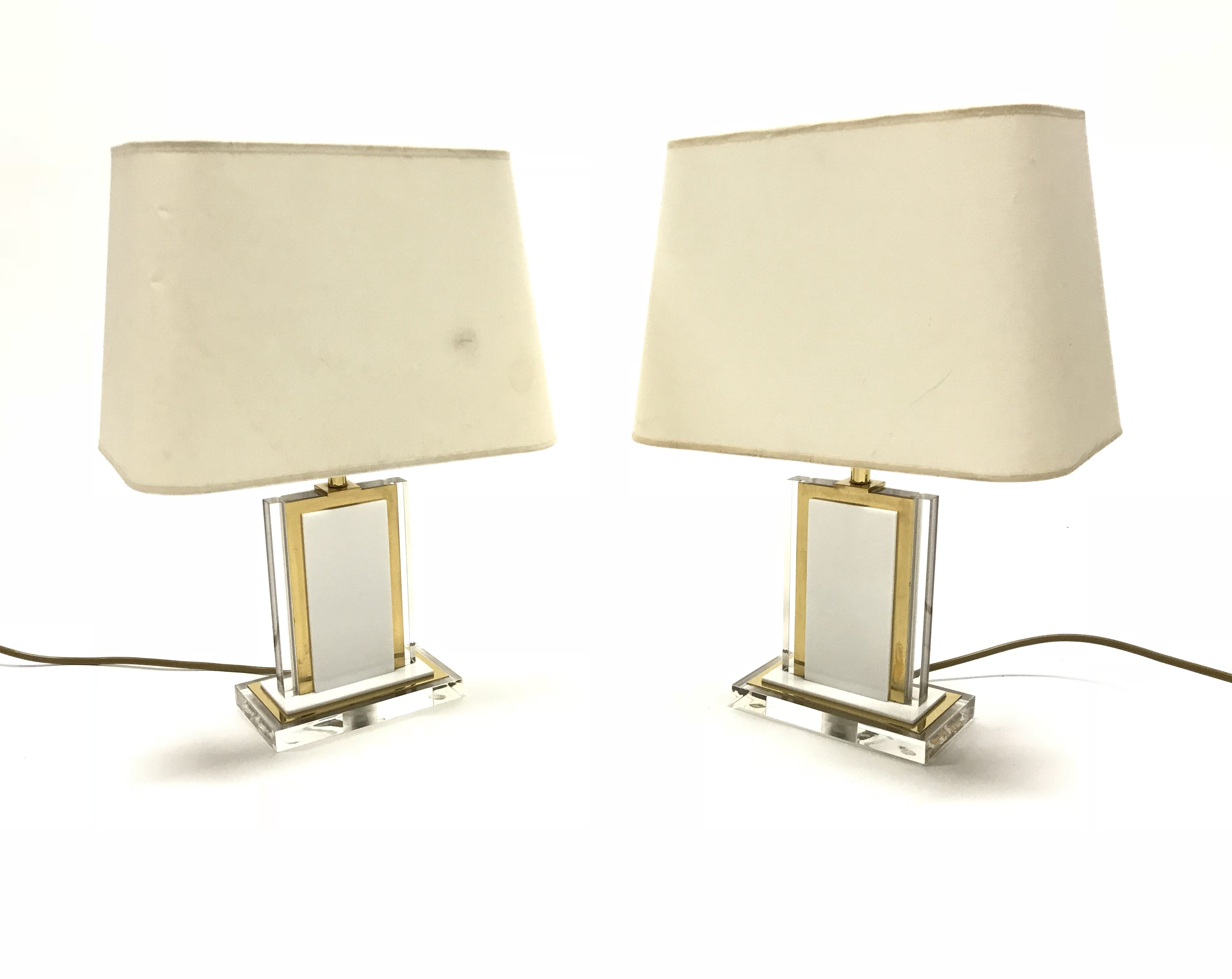 Pair Of Vintage Brass Lucite Table Lamps 1970s