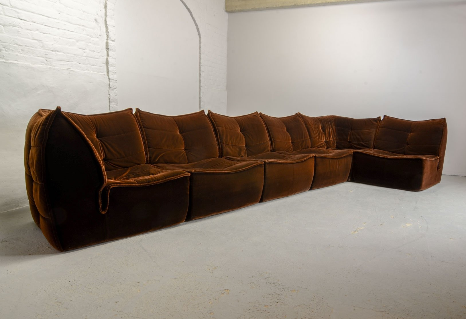 Mid Century Design Chocolate Golden Brown Velvet 6 Elements Modular Sofa,  1970s