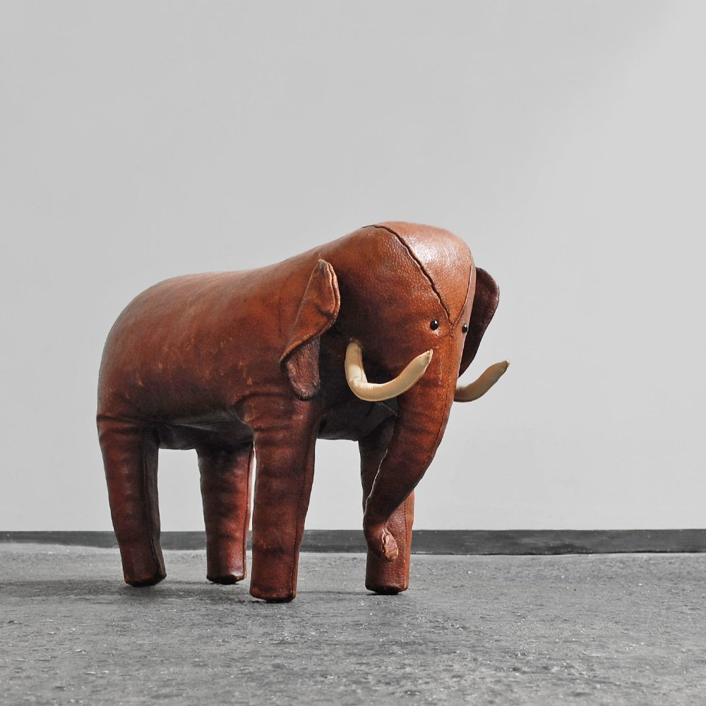 Leather Elephant Foot Stool By Dimitri Omersa For