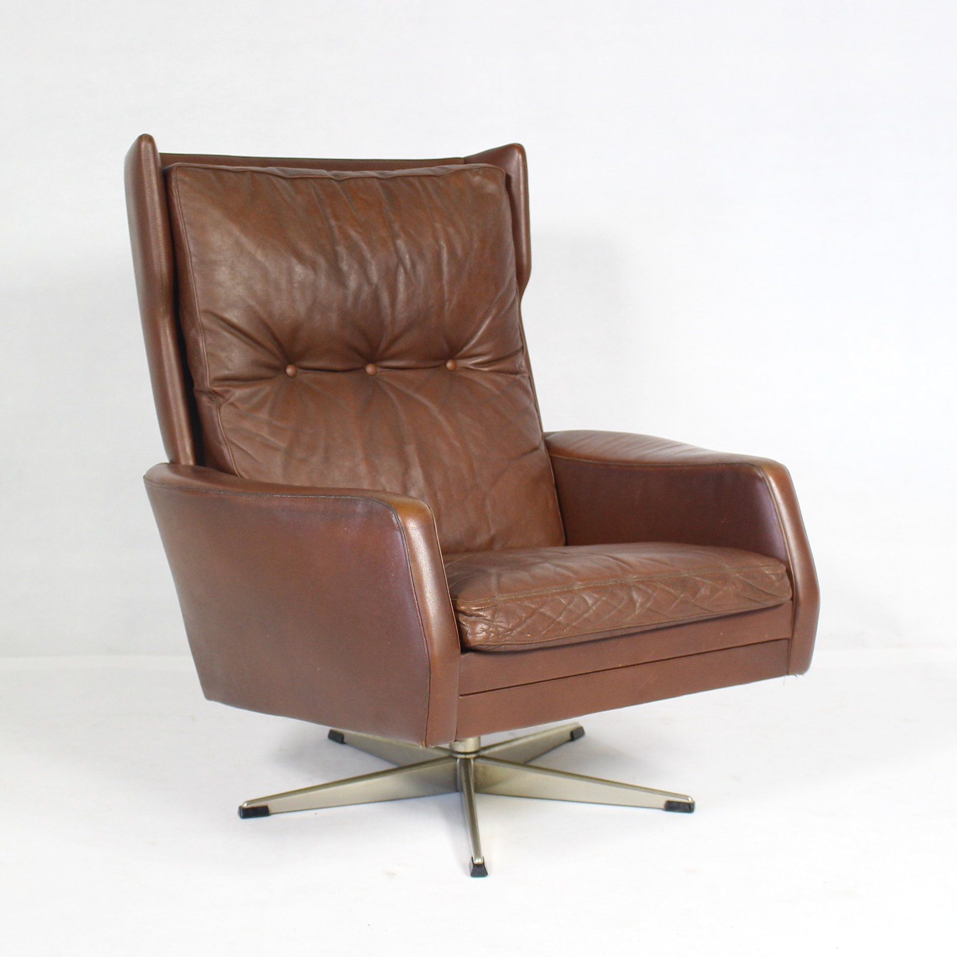 Brown Leather Swivel Chair 1970s 87941