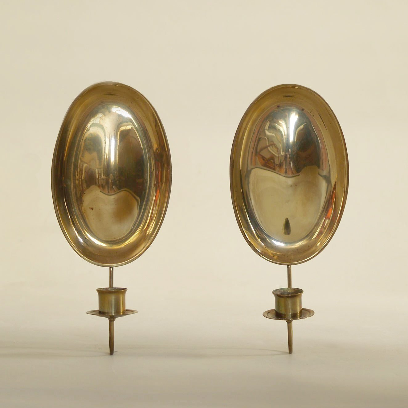 Pair Of Gustavian Folk Brass Wall Hanging Candle Holders Sweden Circa 1900 88133