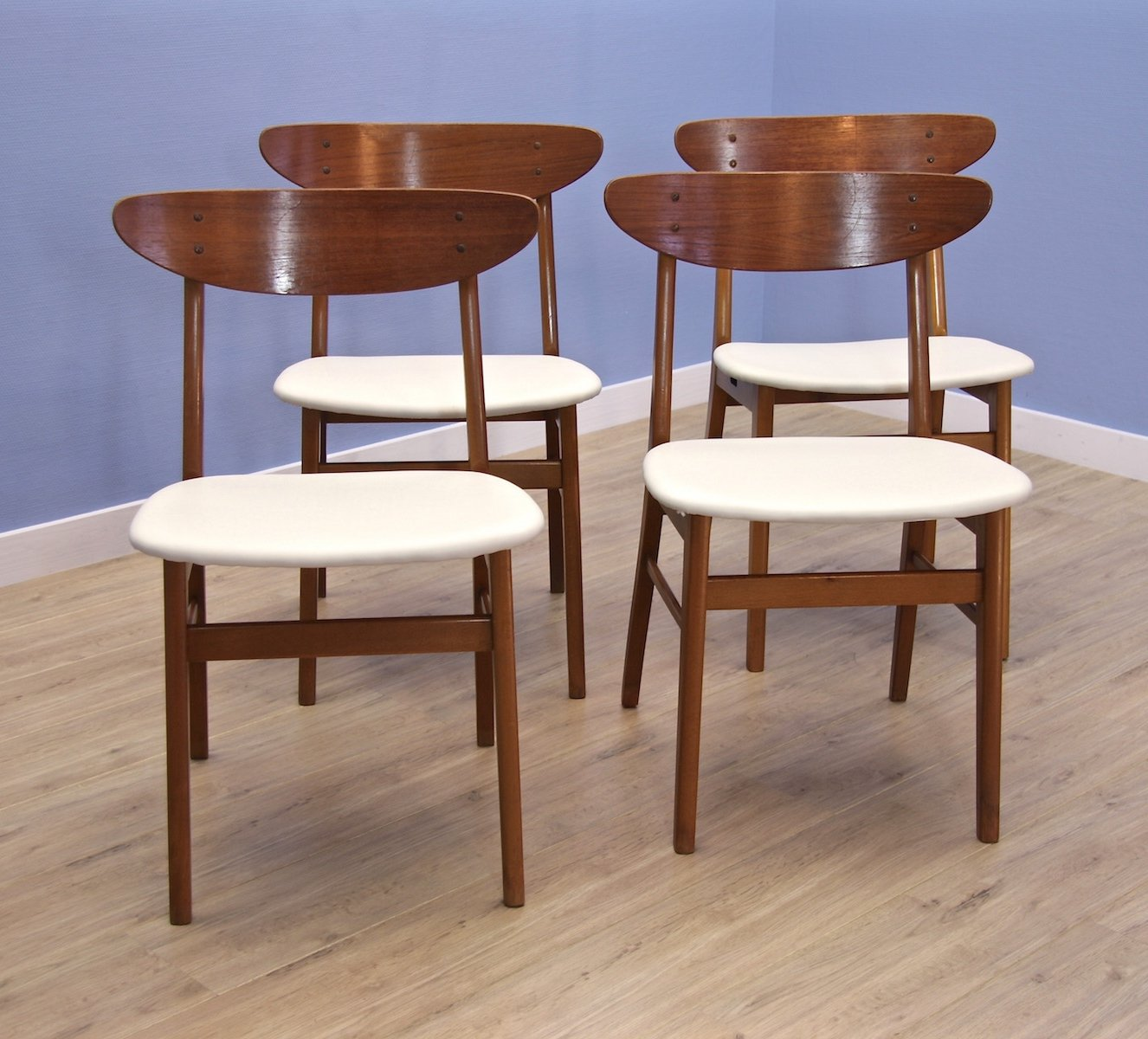 Set of 4 danish dining chairs by farstrup in teak off white leatherette 1960s 88740