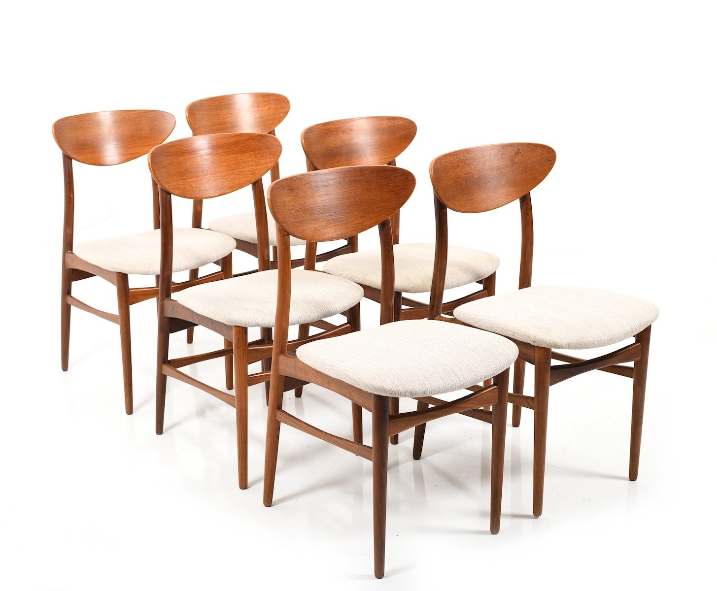 Set of 6 mid century danish teak dining chairs