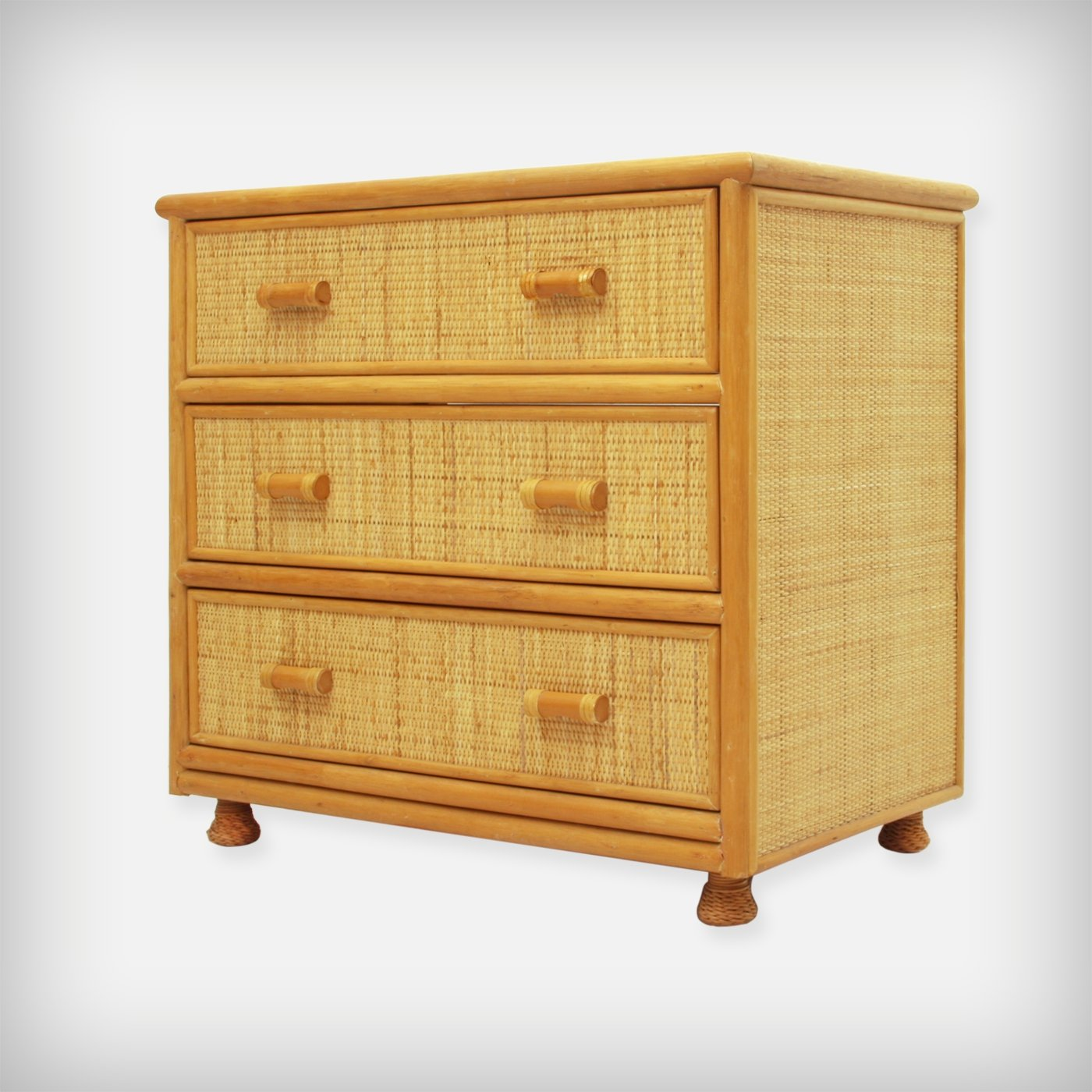 Spanish Rattan Bamboo Chest Of Drawers 1970s 89659