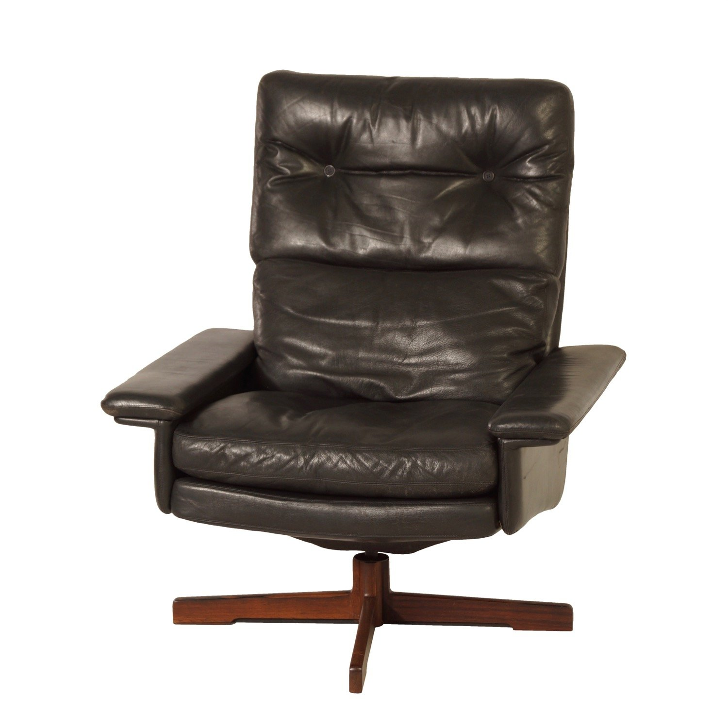 Incredible Danish Swivel Chair In Black Leather 1970S Creativecarmelina Interior Chair Design Creativecarmelinacom