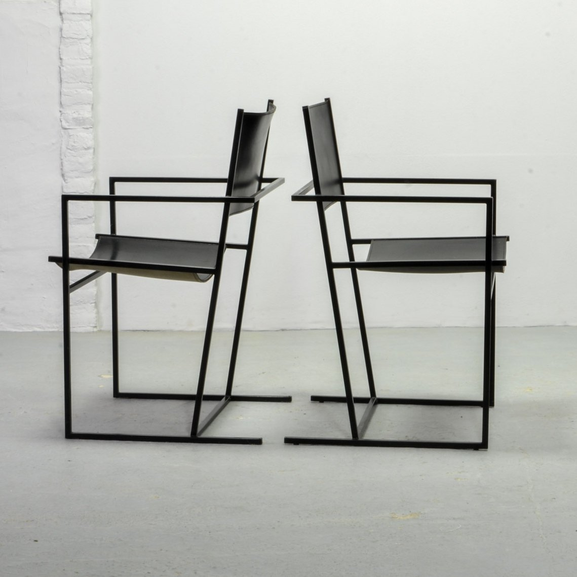 Dutch Design Black Leather Metal Dining Chairs By Albert Geertjes