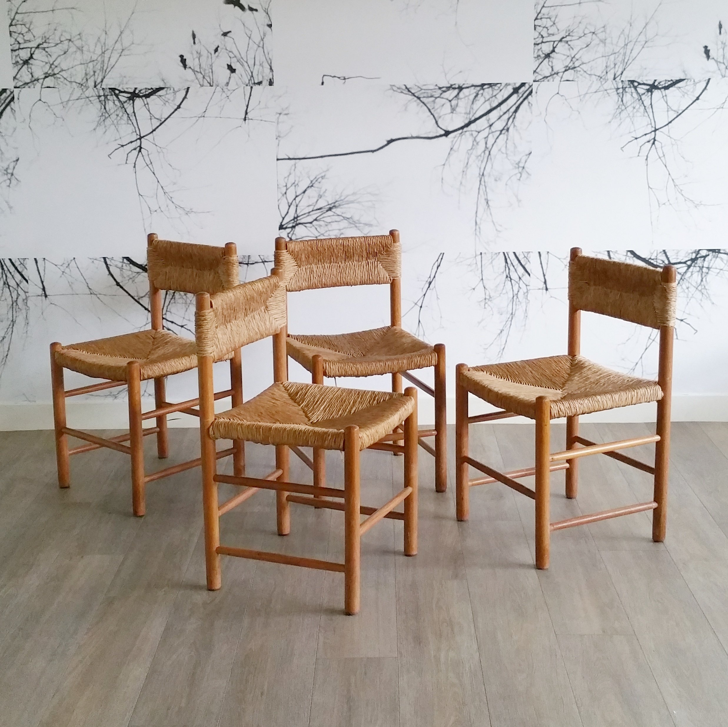 Set Of 4 Rush Seat Dining Chairs 1950s