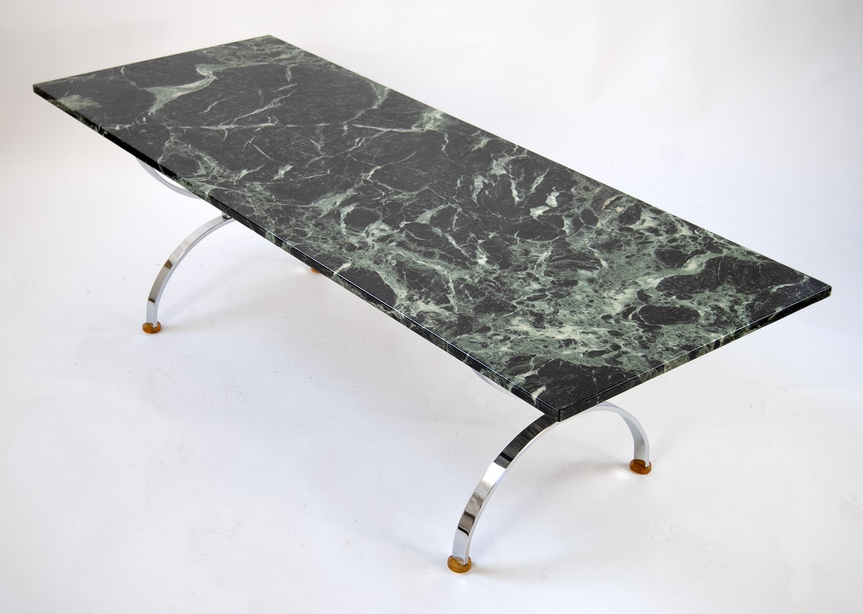 Vintage Coffee Table With Marble In Dark Green Chrome 1960s