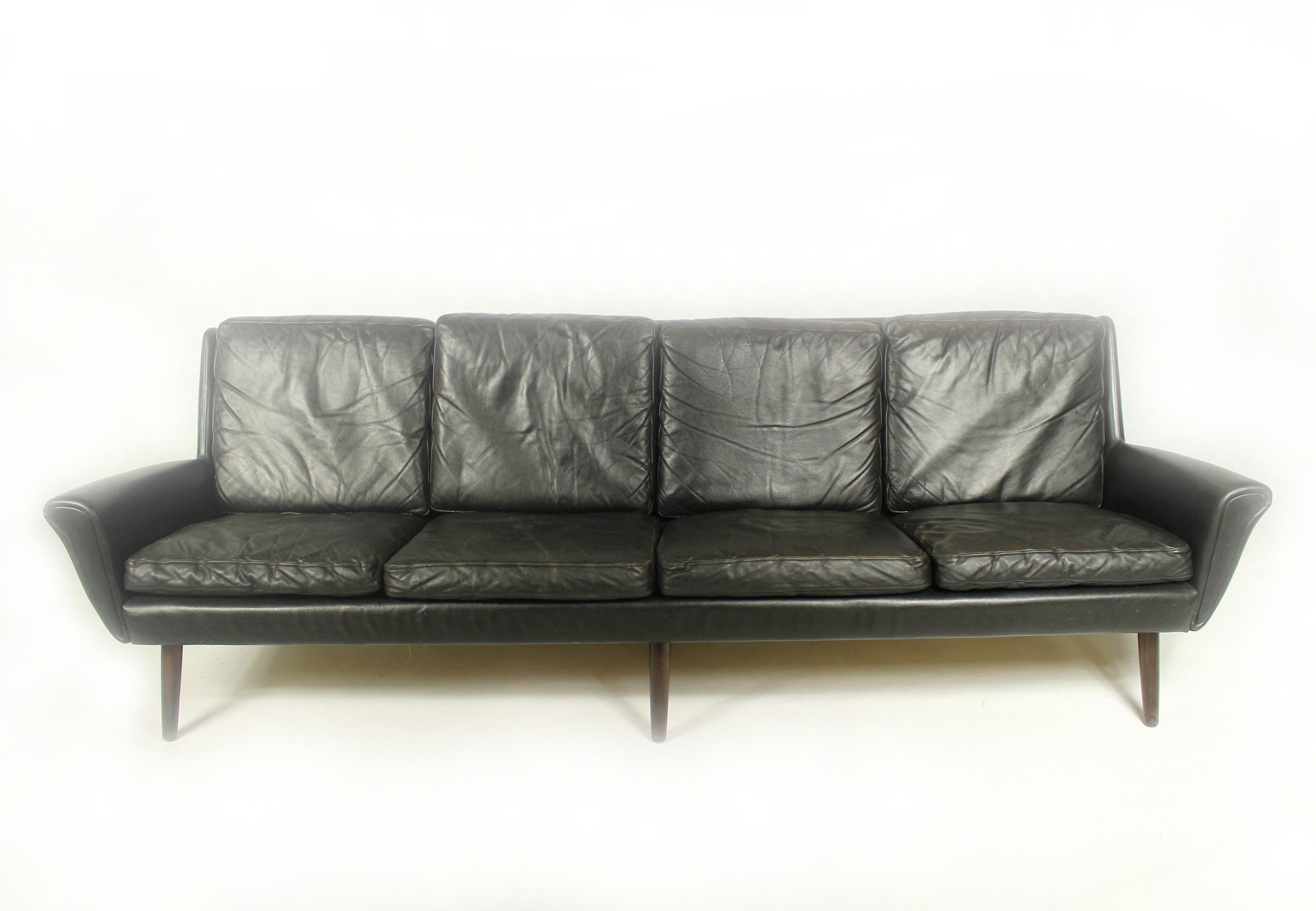 Vintage Leather 4 seater Sofa, 1960s | #91474