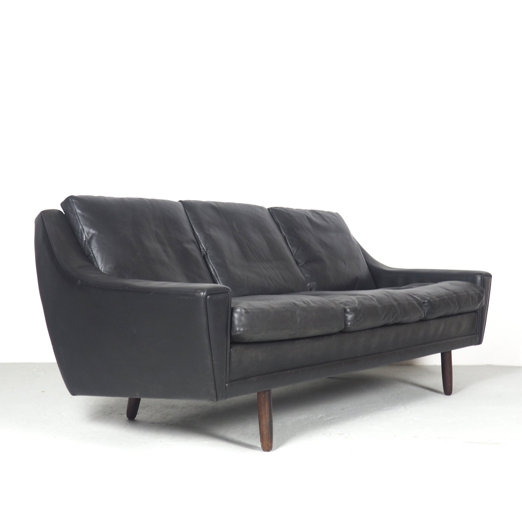 Danish Design 3 Seater Sofa In Black Leather 1960 S 91500