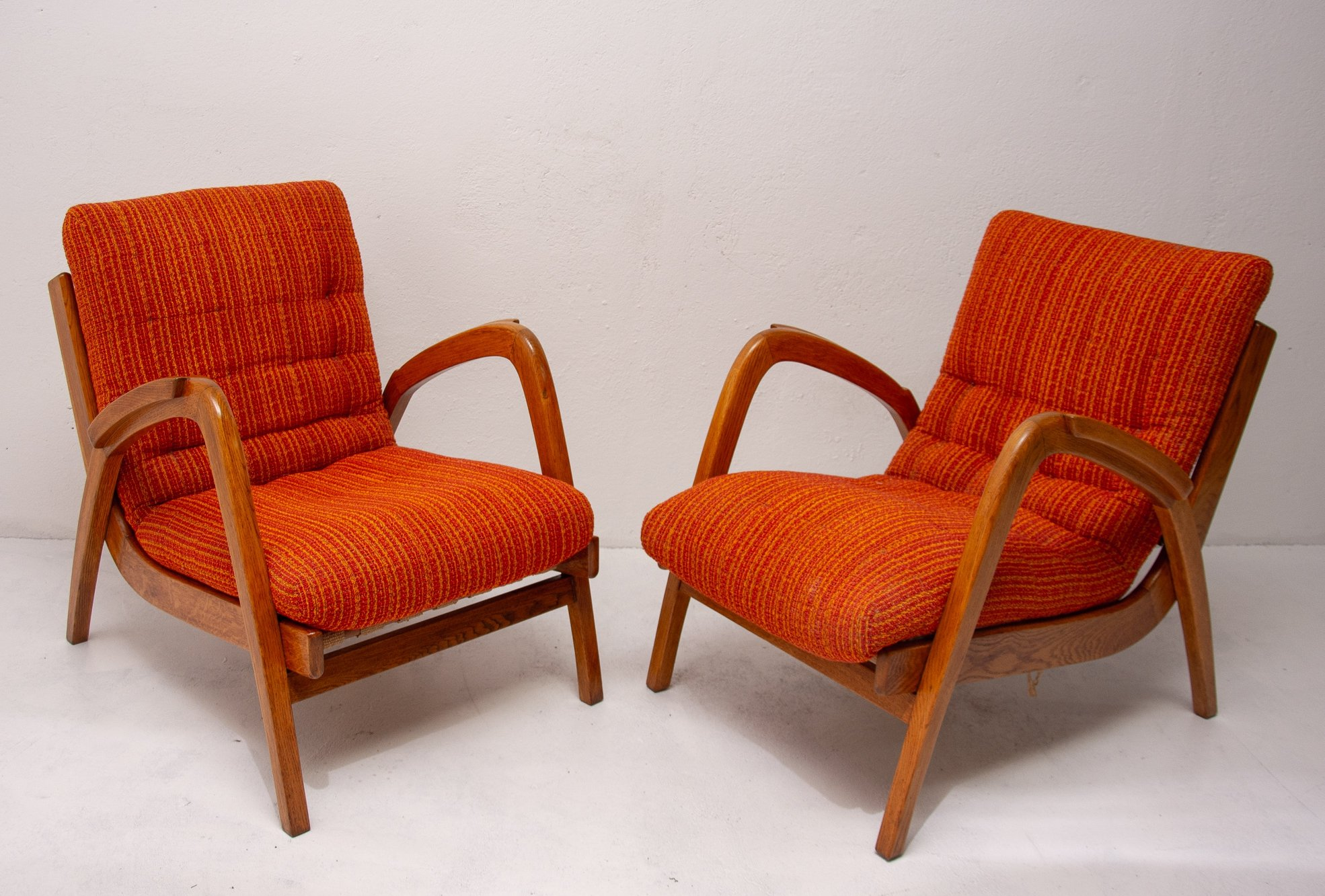 mid century armchairs with removable cushions by jan vaněk czechoslovakia 1940s