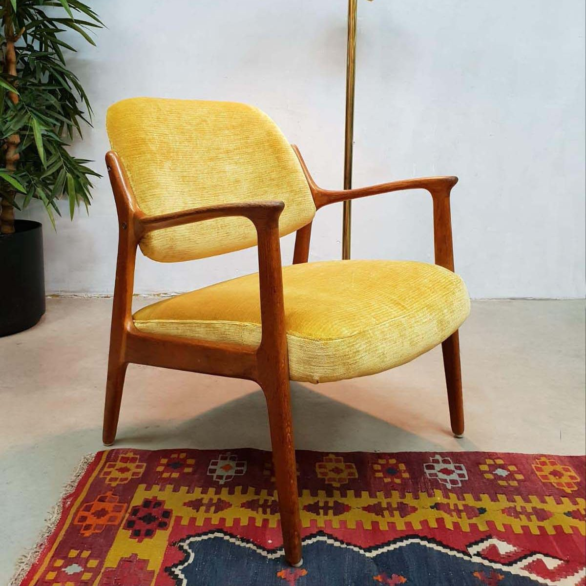 Midcentury Modern Yellow Arm Chair 1950s 91949
