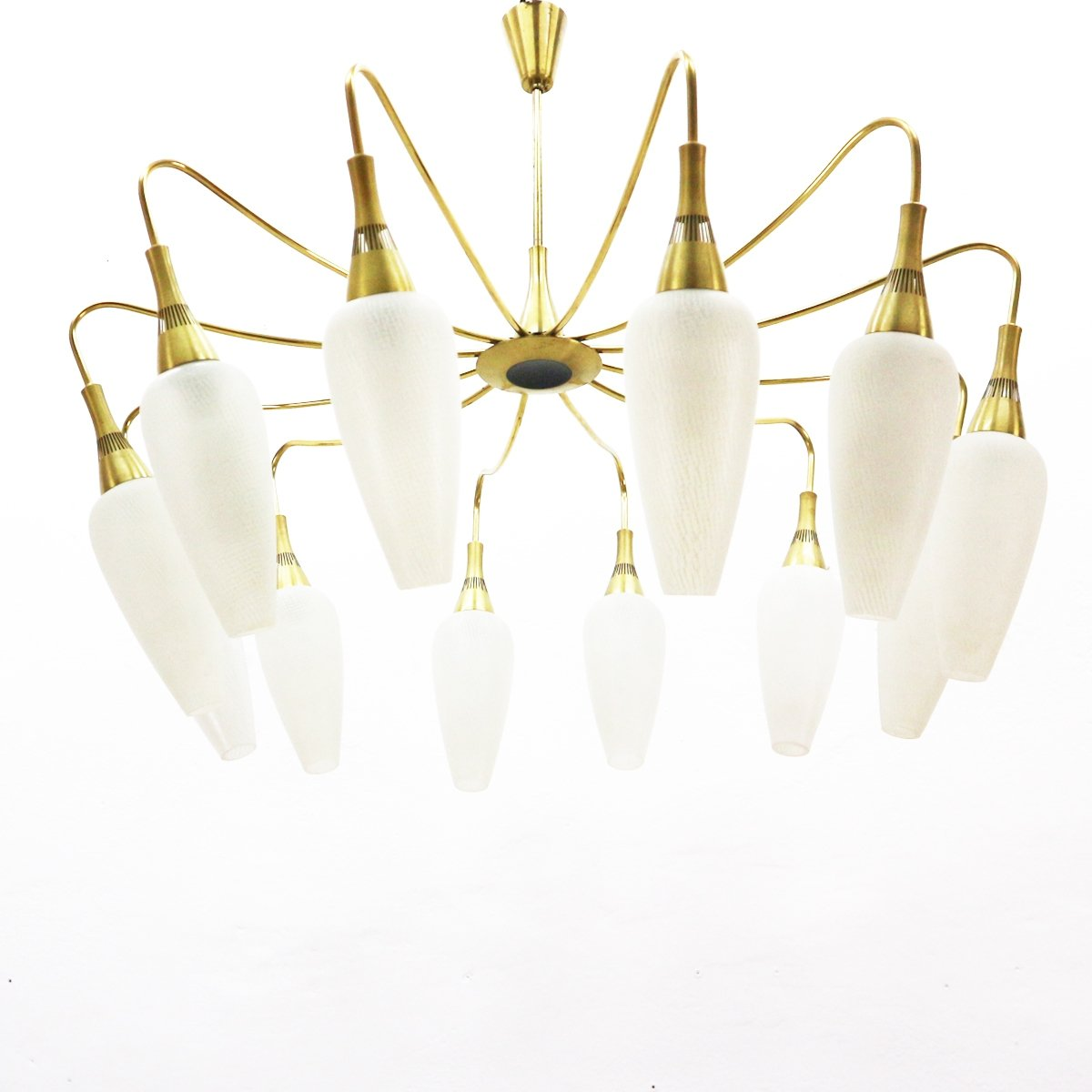 Stunning Mid Century Chandelier With Brass Frosted Glass 91977