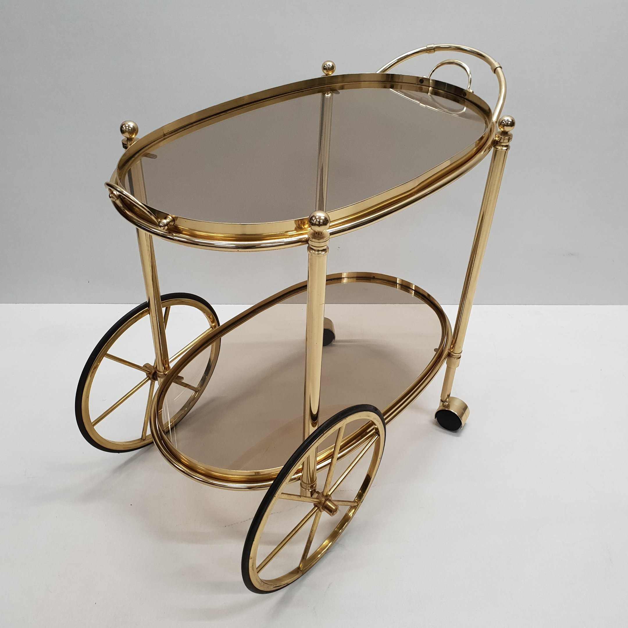 High Quality Italian Brass Trolley Bar Cart With Smoked Glass 92364