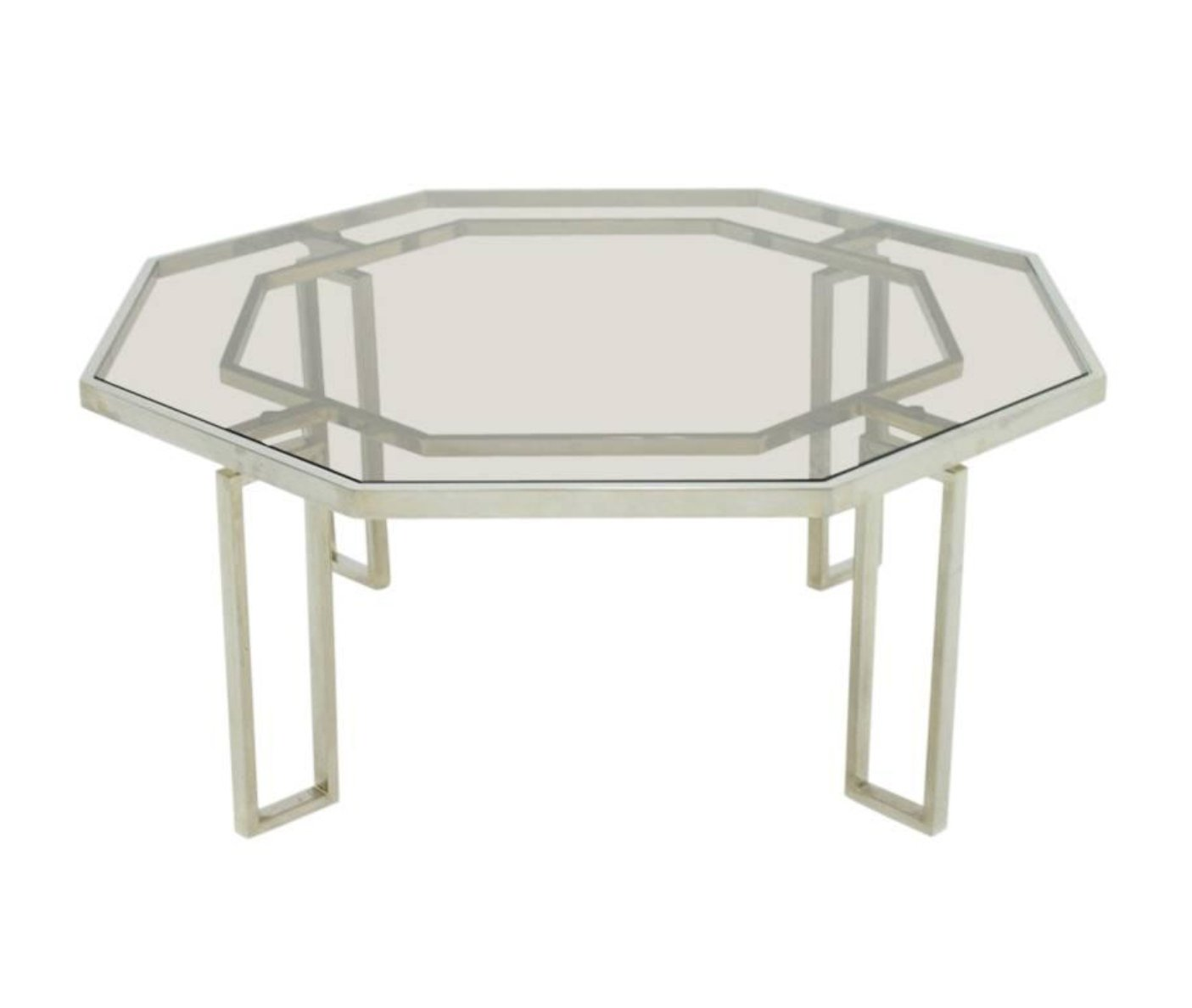 Octagonal Coffee Table With Metal Base Glass Top 1960s 92420