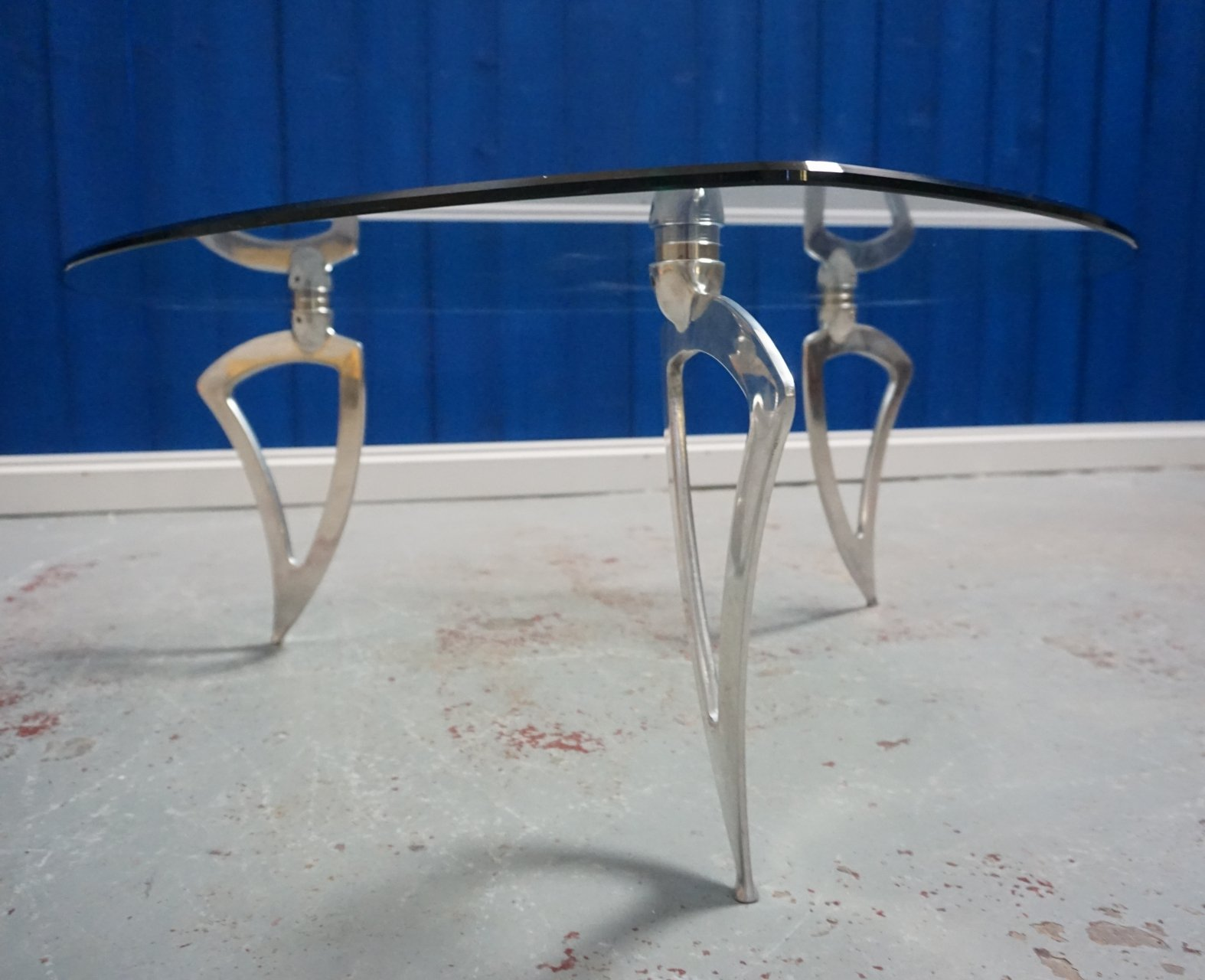 Mid Century Modern Design Chrome Coffee Table With Glass Top