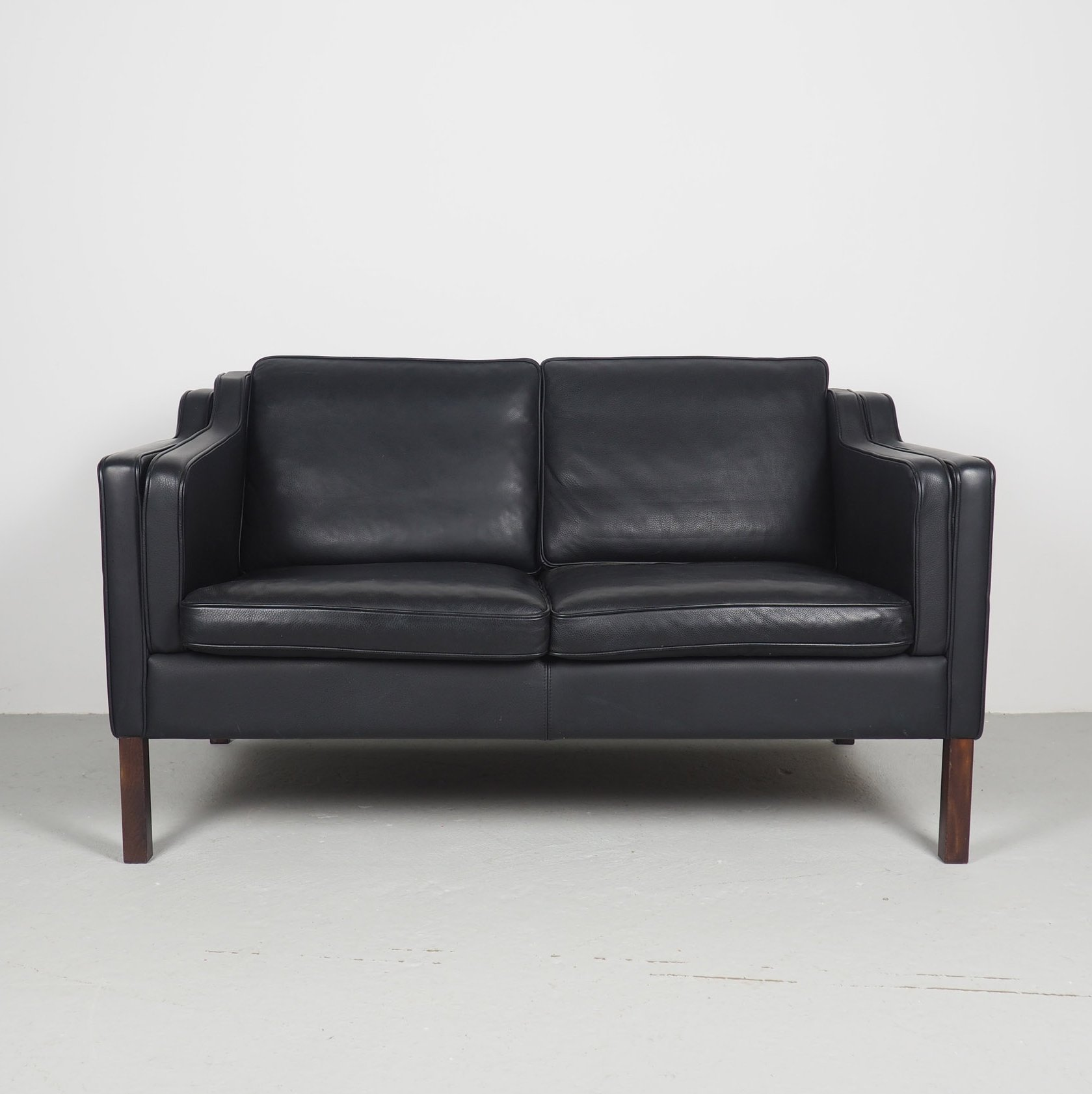 Black Leather Vintage 2 Seater Sofa By