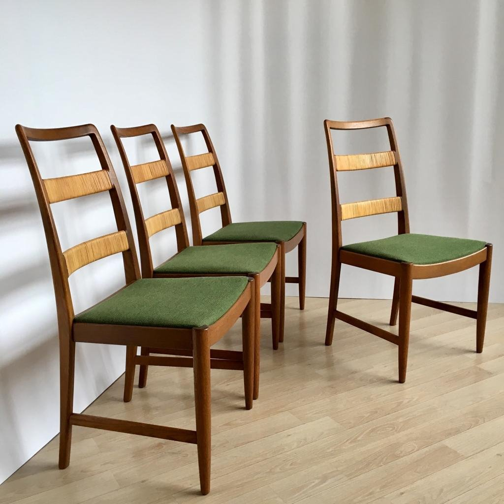 Set Of 4 Mid Century Swedish Oak Chairs By Bertil Fridhagen For