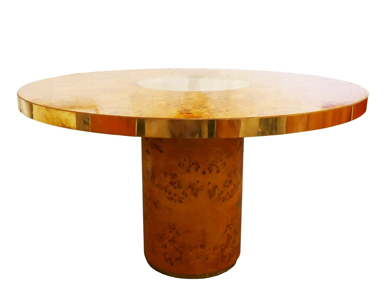 Round Dining Table In Brass & Burl By Willy Rizzo For Mario