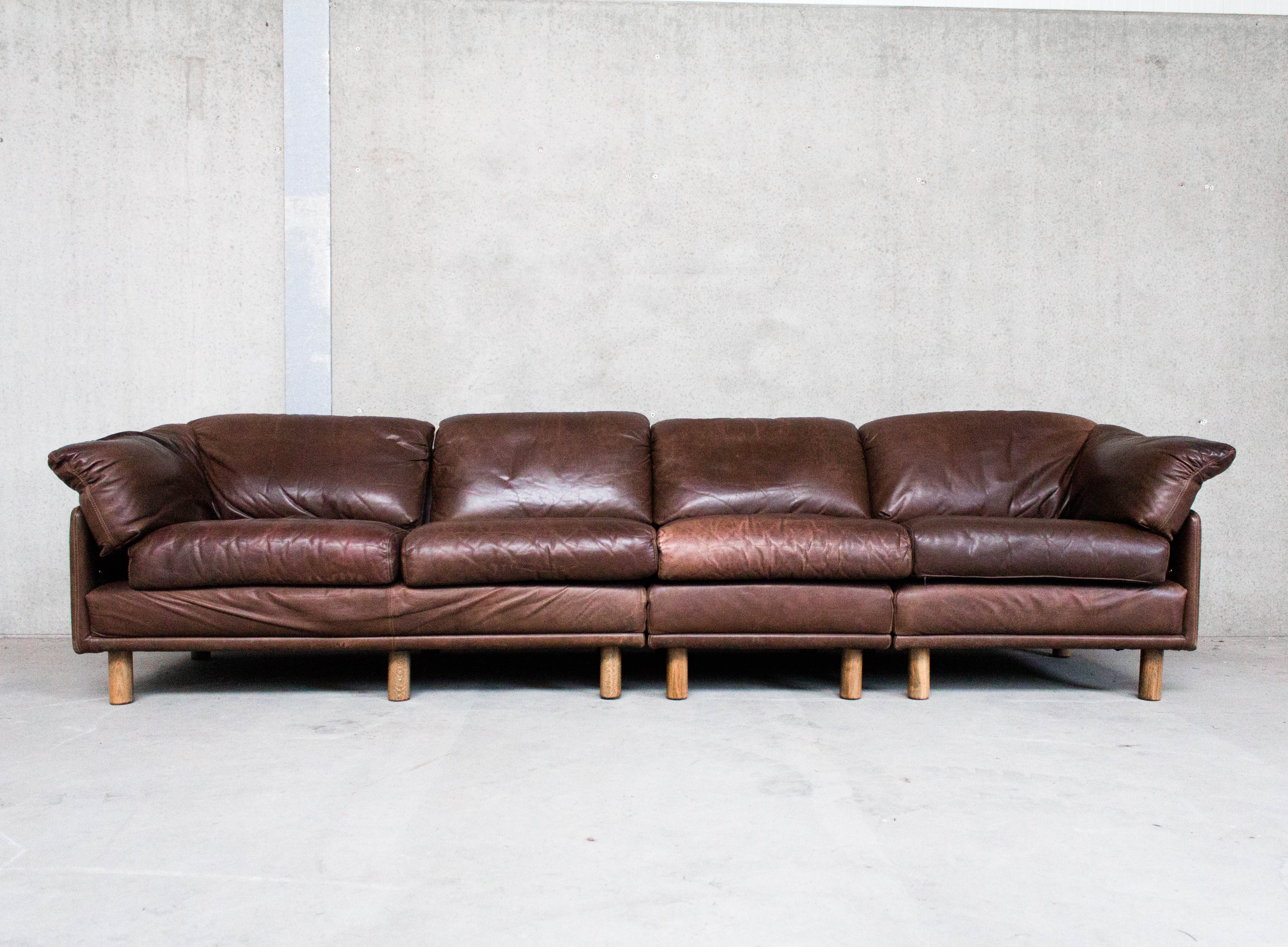 Brown Leather Modular Sofa by Leolux   #93410
