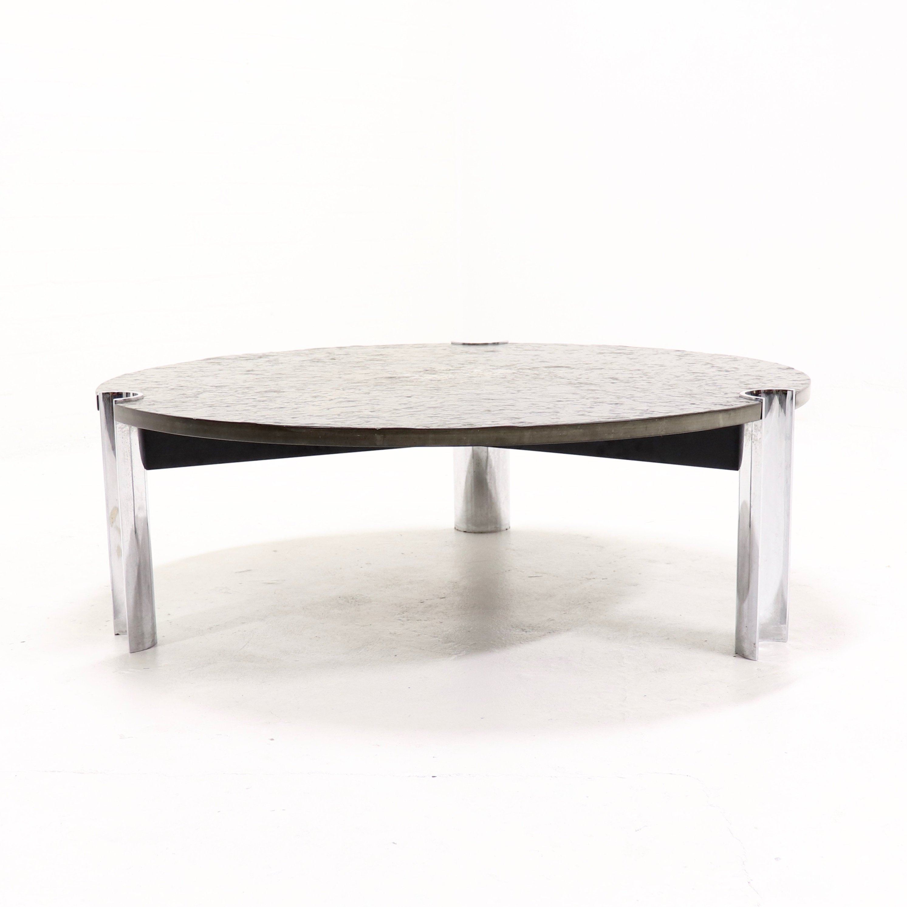 Mid Century Fossil Limestone Chrome Coffee Table 1970s
