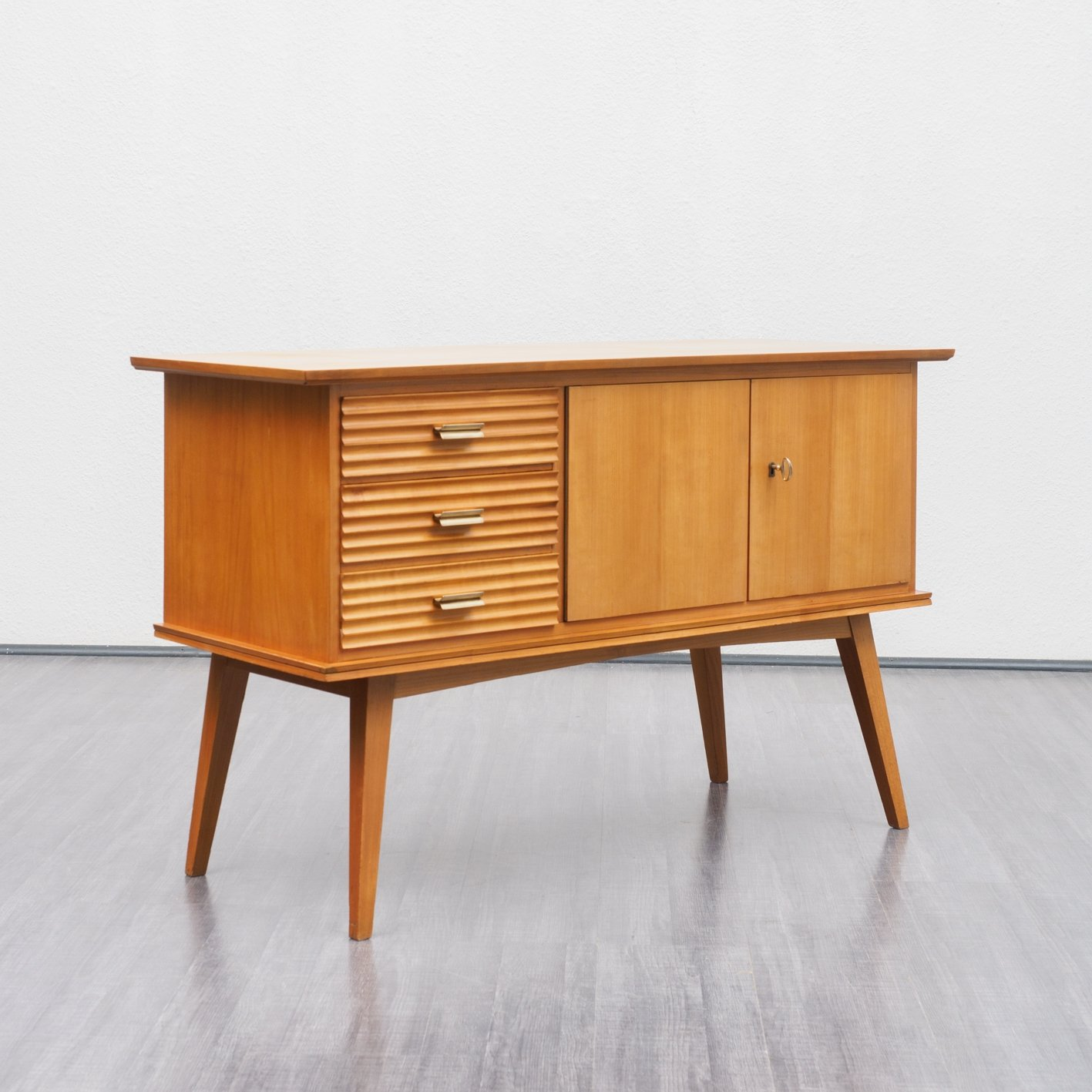 Midcentury Time Typical Cherrywood Dresser With Tapered Legs