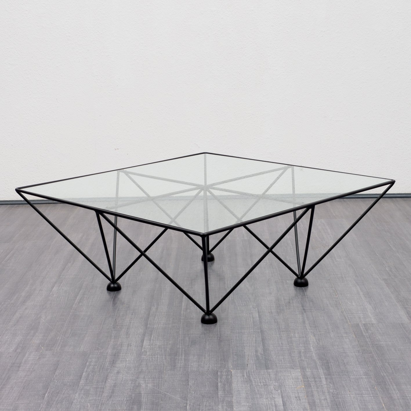 - Vintage Midcentury Glass Coffee Table With Metal Frame, 1970s #93963