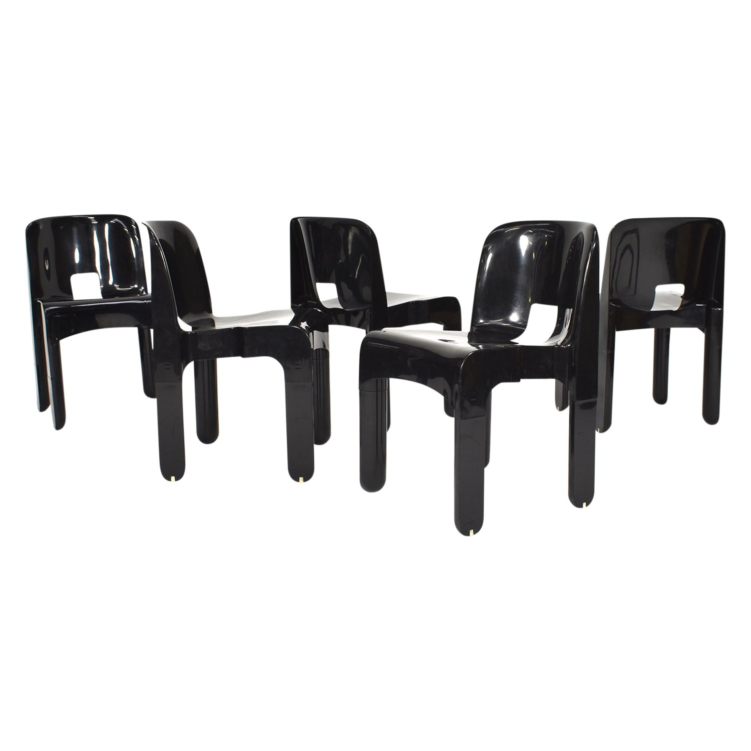 Fine Set Of 5 Joe Colombo Universale Plastic Chairs By Kartell Inzonedesignstudio Interior Chair Design Inzonedesignstudiocom