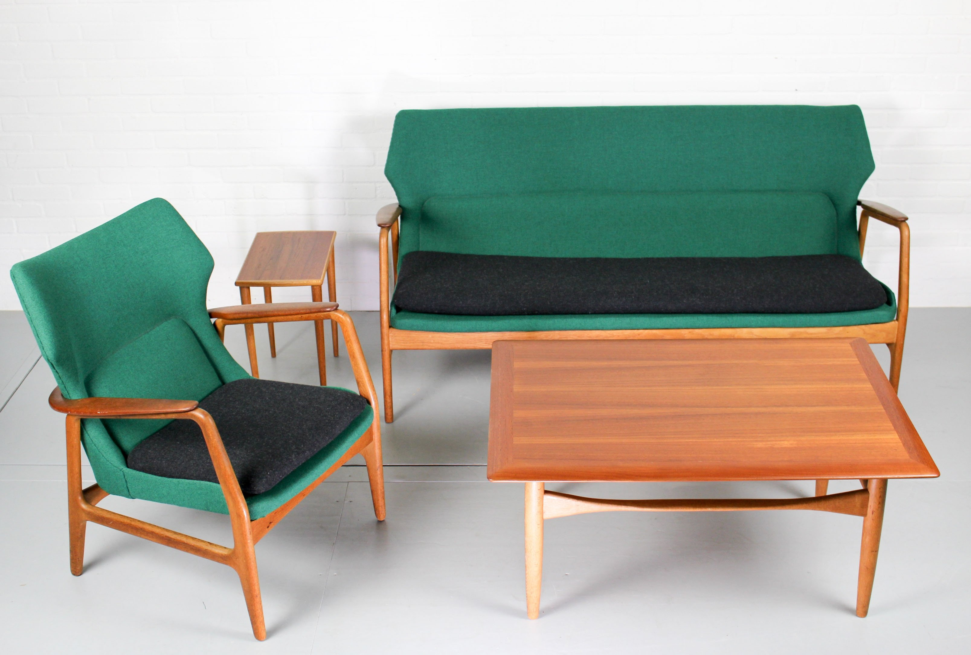 aksel bender madsen for bovenkamp lounge set with sofa tables and wingback chair