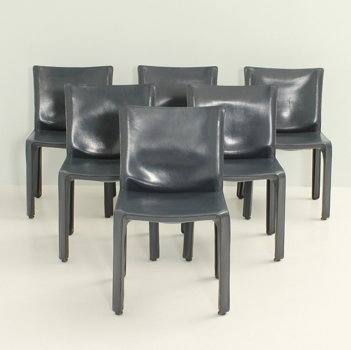 Set Of Six Cab Chairs By Mario Bellini In Dark Blue Leather 94770
