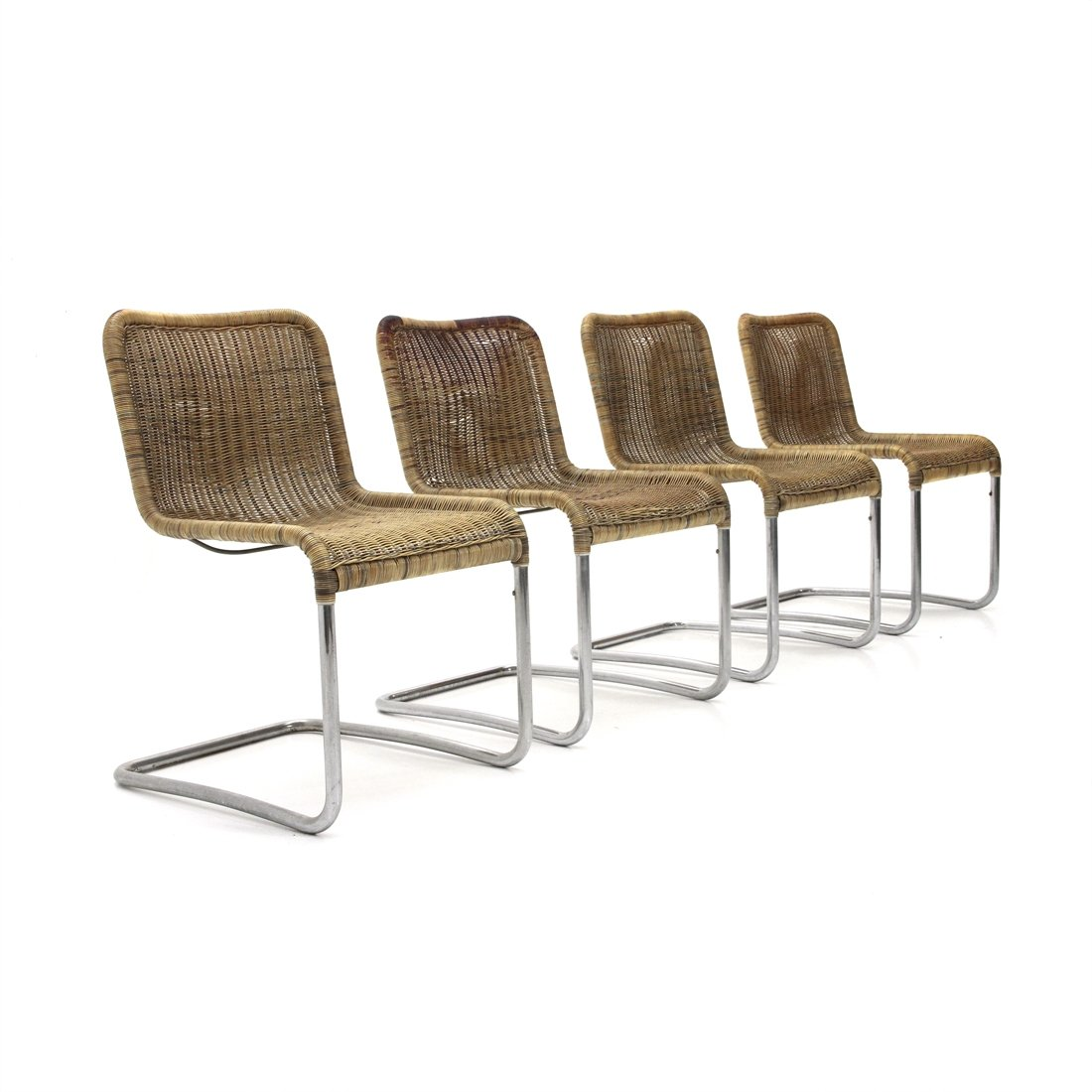 Set Of 4 Italian Mid Century Dining Chairs In Chromed Metal