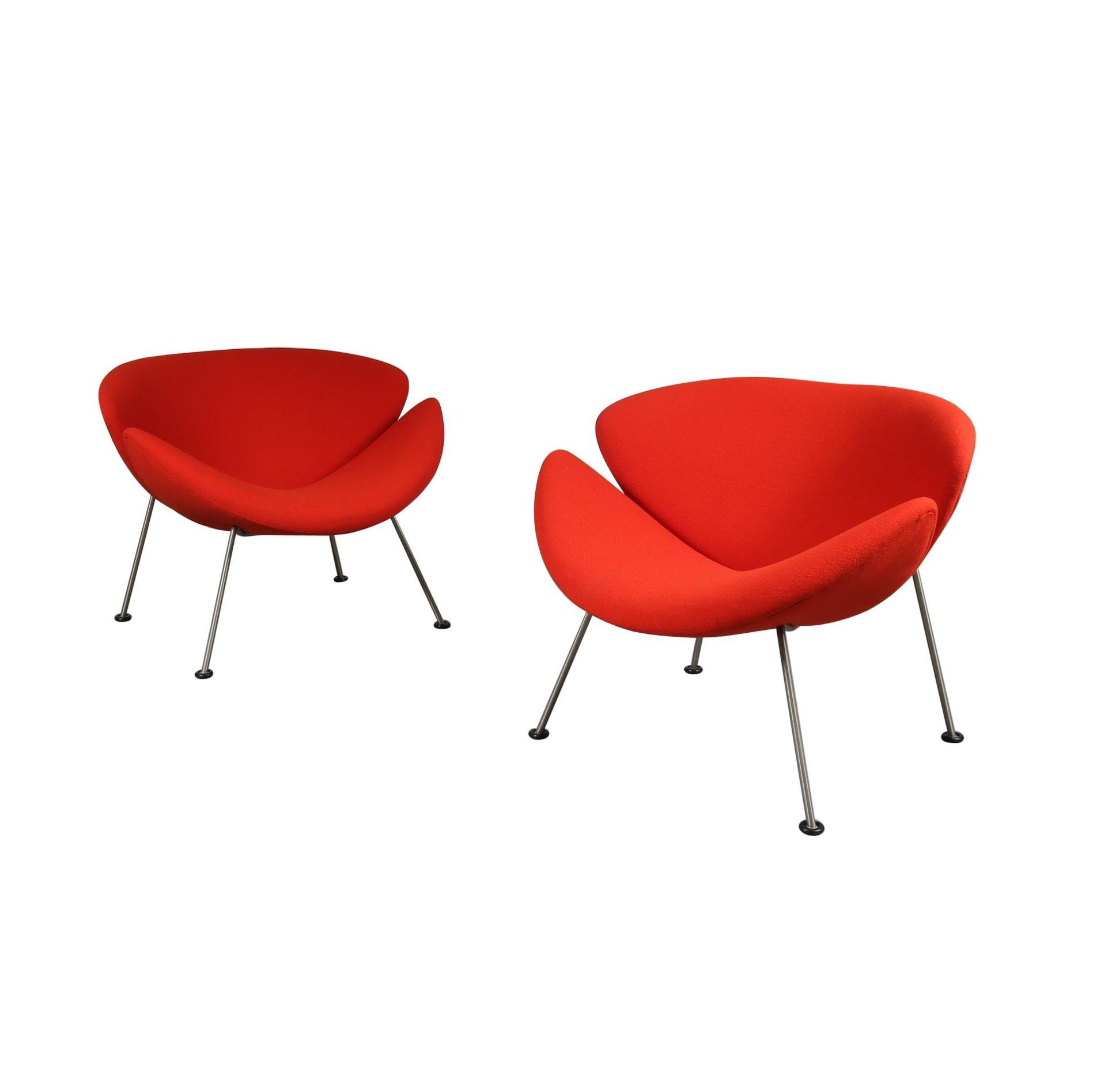 Artifort Slice Fauteuil.Pair Of Pierre Paulin First Edition Orange Slice Chairs For Artifort 1950s