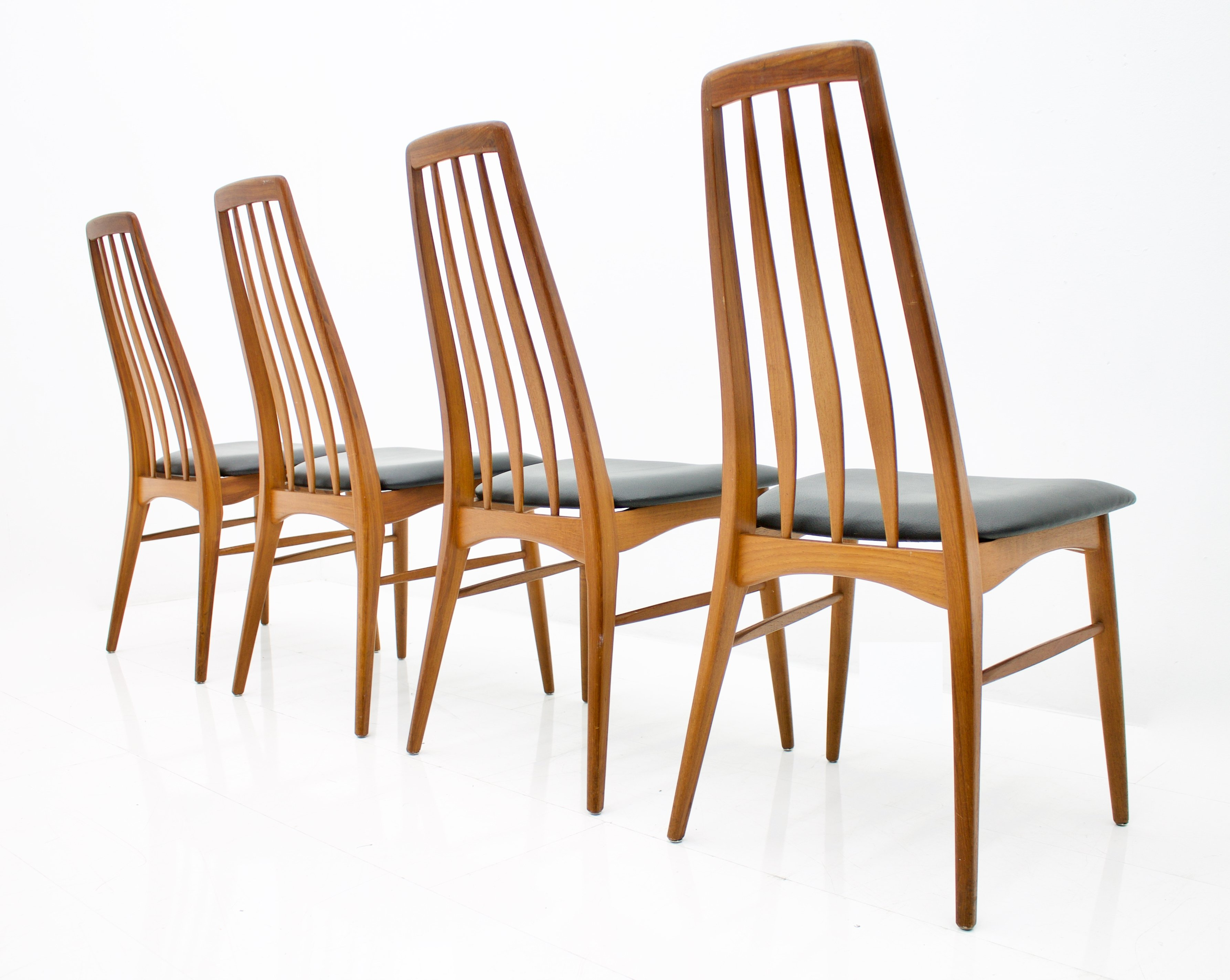 Surprising Set Of Four Teak Leather Eva Dining Chairs By Niels Kofoed Creativecarmelina Interior Chair Design Creativecarmelinacom