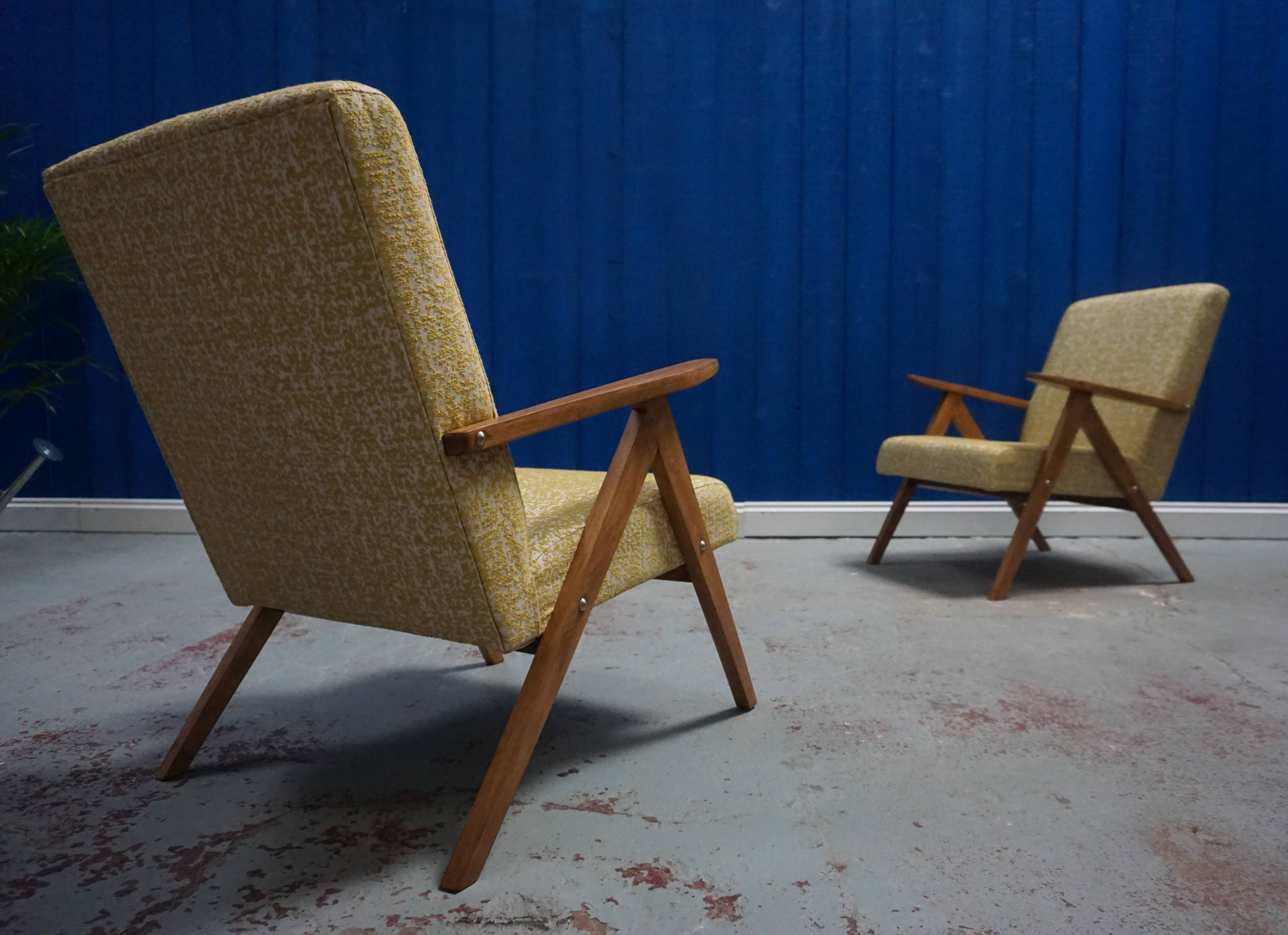 pair of mid century modern armchairs in whitegold fabric 1960s