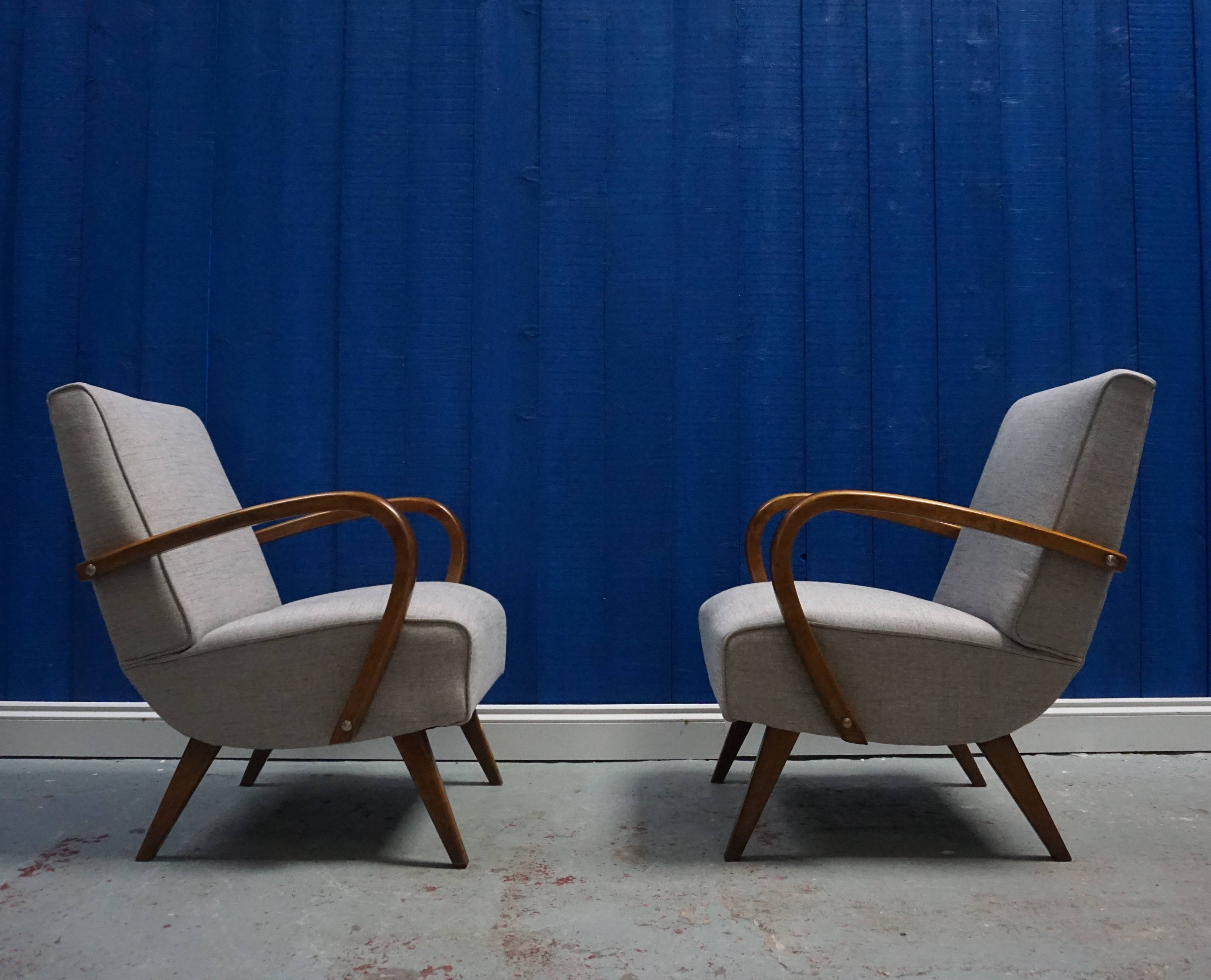 Image of: Pair Of Mid Century Czech Bentwood Chairs In Grey 1950s 95749