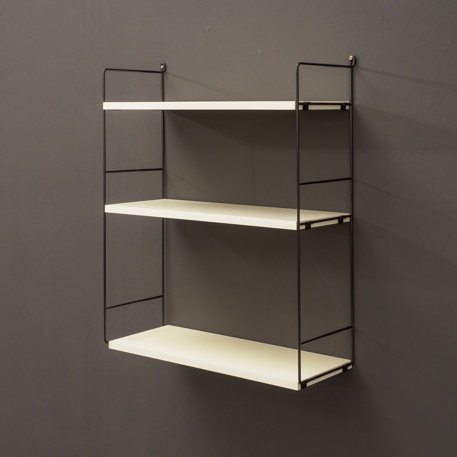 Midcentury Whb Wall Shelf With Metal Ladders Germany 1960s