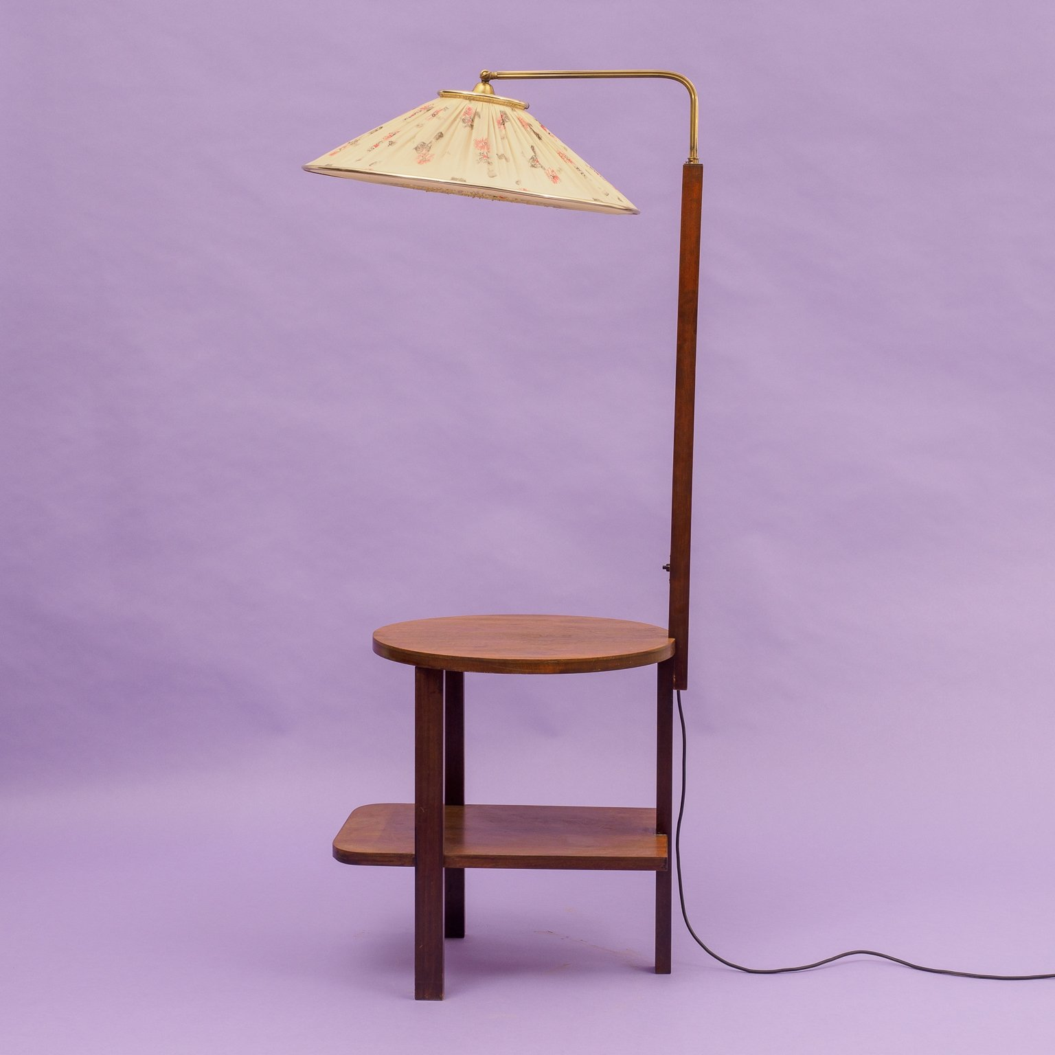 Midcentury Floor Lamp With Integrated Dark Beech Side Table 95806