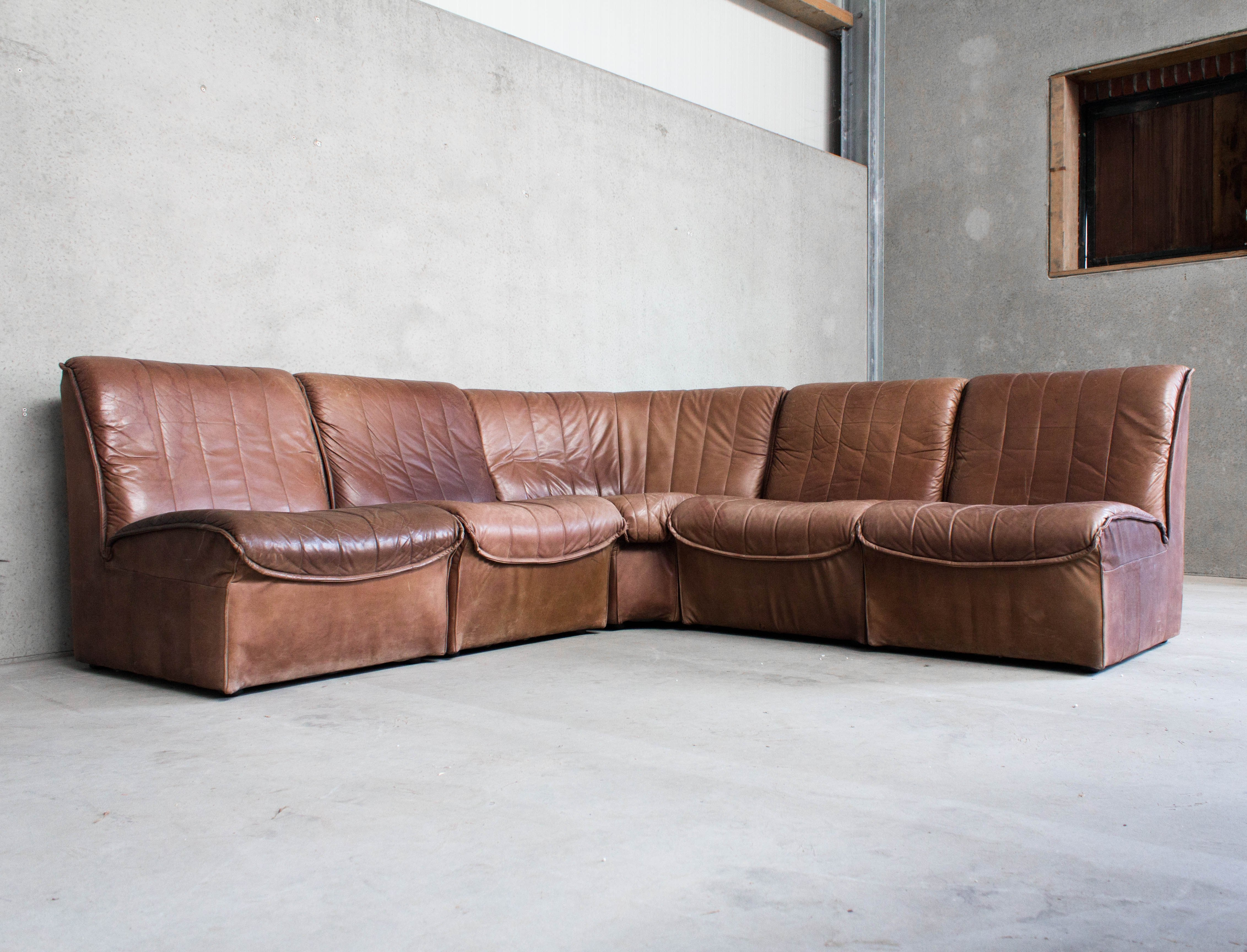Picture of: Modular Sofa In Cognac Brown Leather 95869