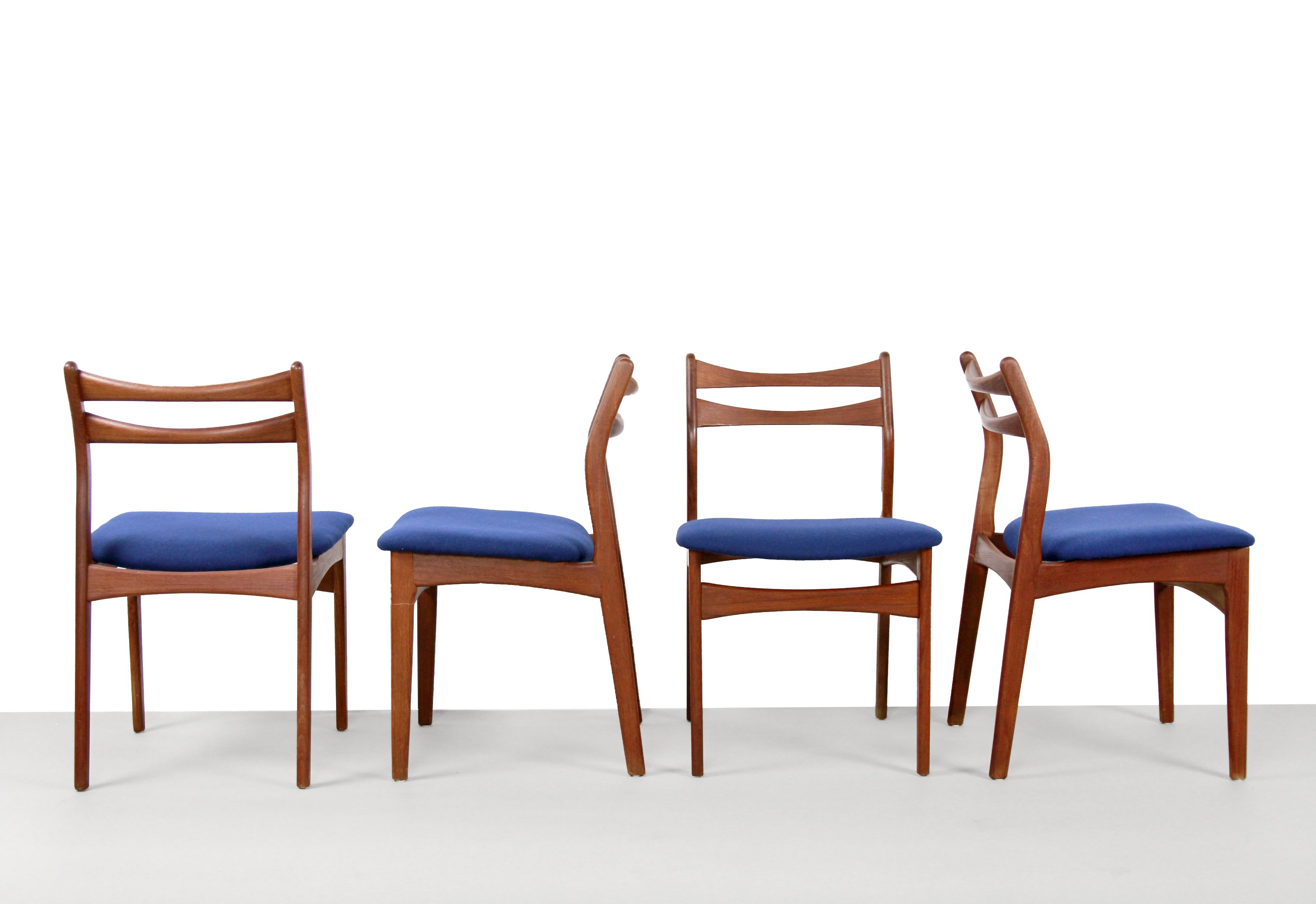 Teak With Blue Wool Fabric Danish Design Chairs By Erik Buck 95946