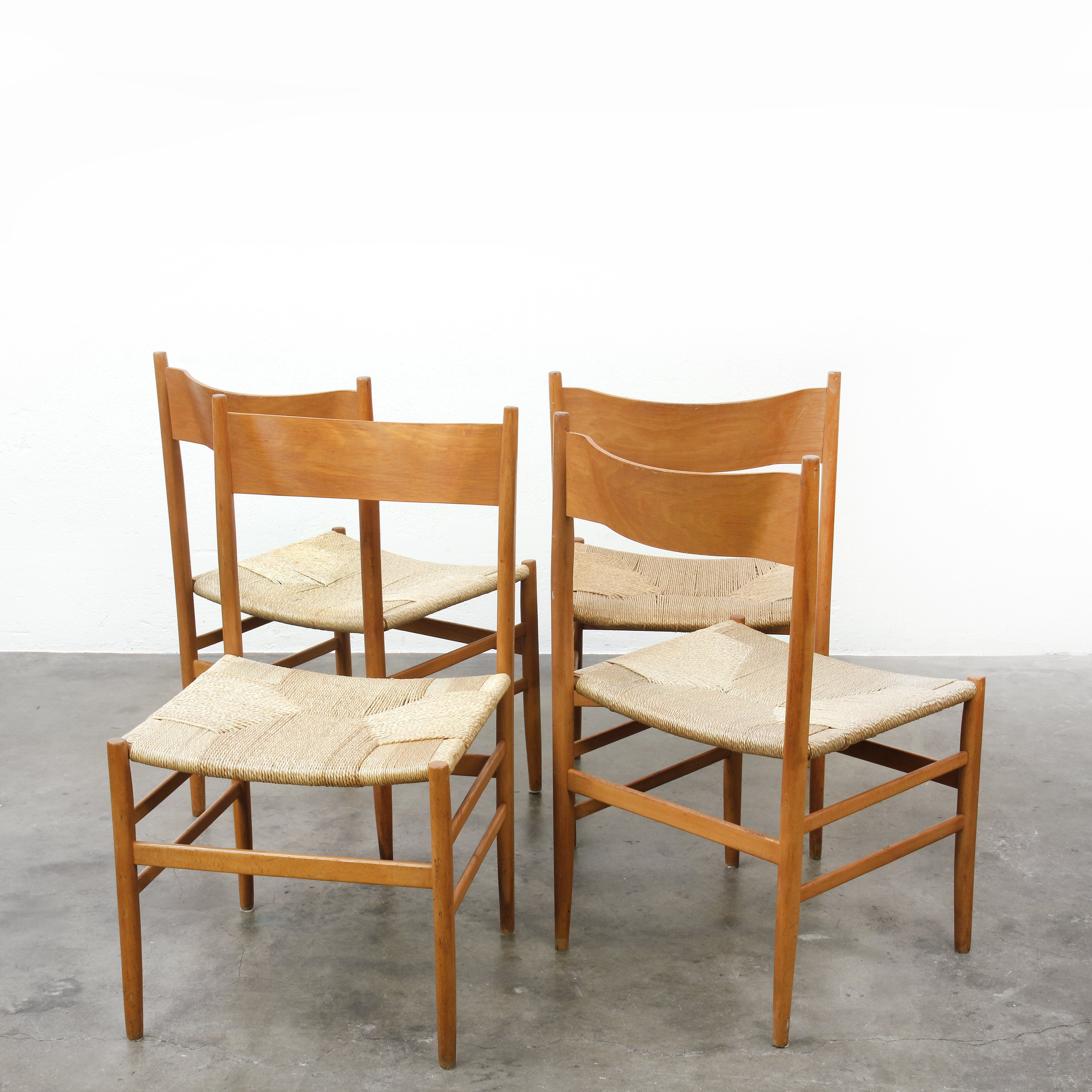 Set Of 4 Wooden Chairs With Artificial Cane Seats 1960s