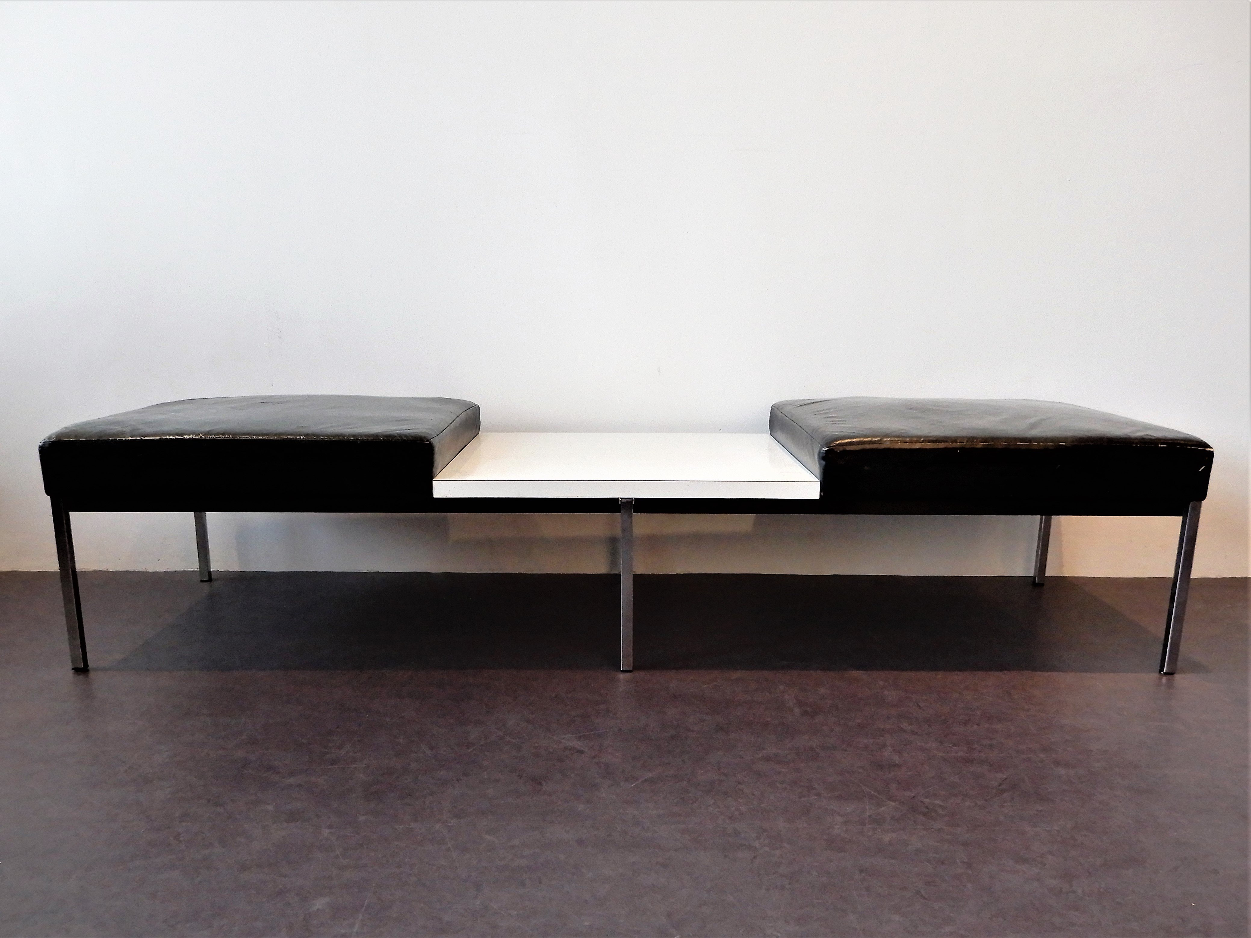 Amazing 2 X Black Leather Bench With White Laminated Table By Thonet 1960S Machost Co Dining Chair Design Ideas Machostcouk