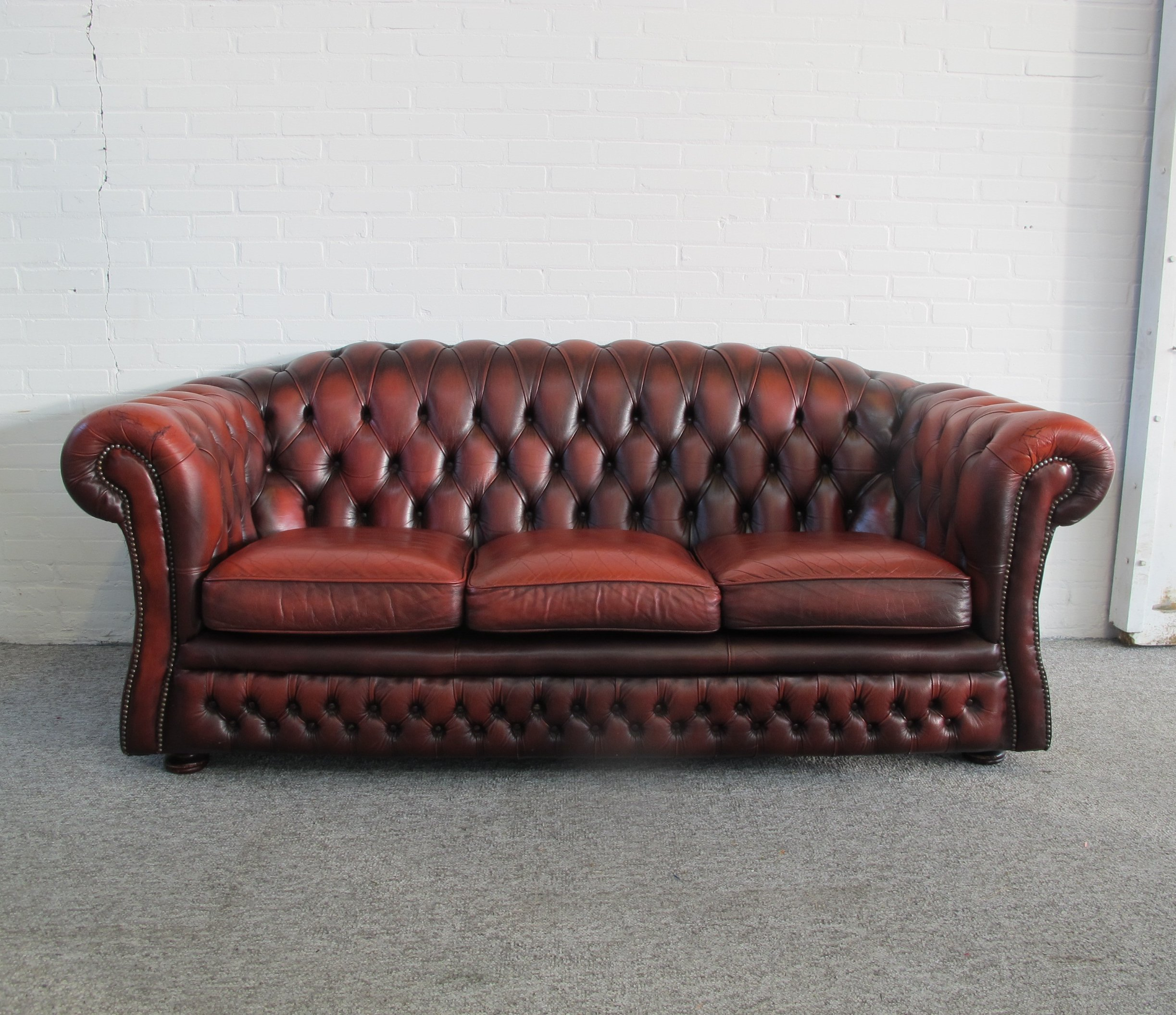 Astonishing Original English Chesterfield Sofa In Oxblood Red Leather Cjindustries Chair Design For Home Cjindustriesco
