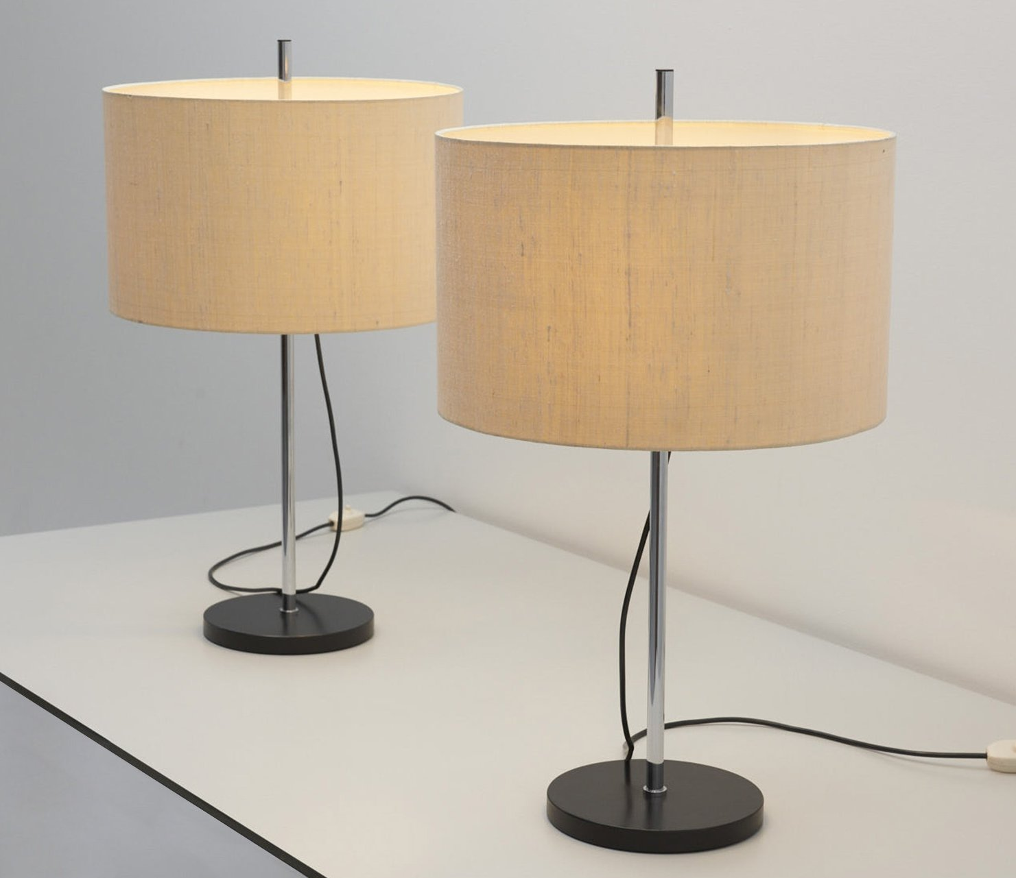 Pair Of Table Lamps By Staff Leuchten With Original Adjustable Lamp Shades 96719
