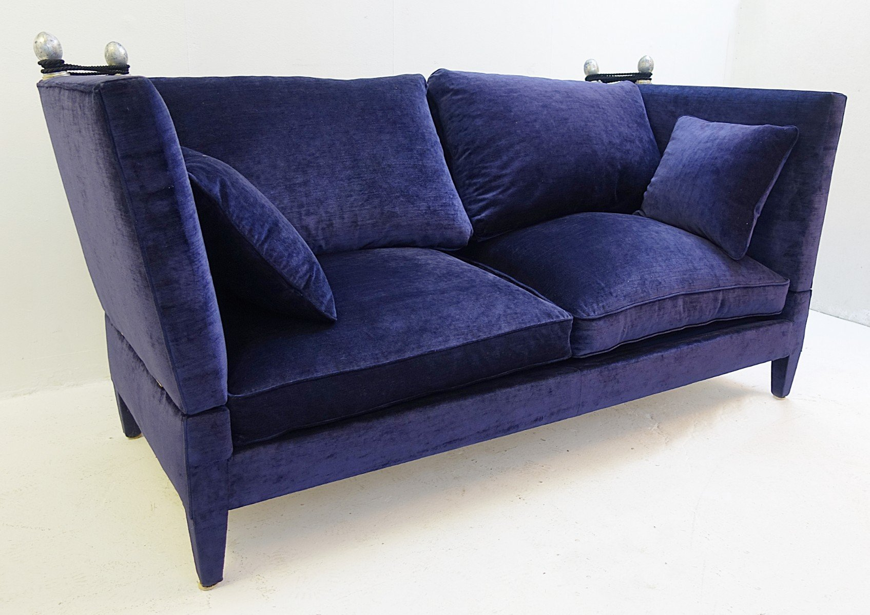 Midnight Navy Blue Velvet Sofa, 1960s | #96714
