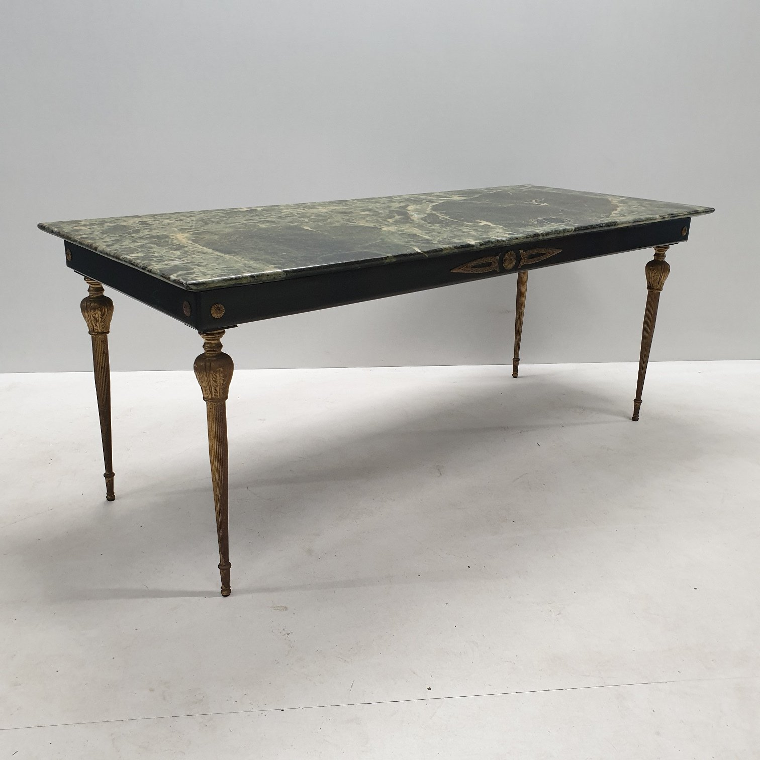 Vintage Brass Coffee Table With A Green Marble Top 97276