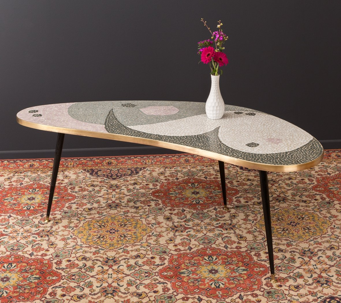 Kidney Shaped Coffee Table With Mosaic 1950s 97576