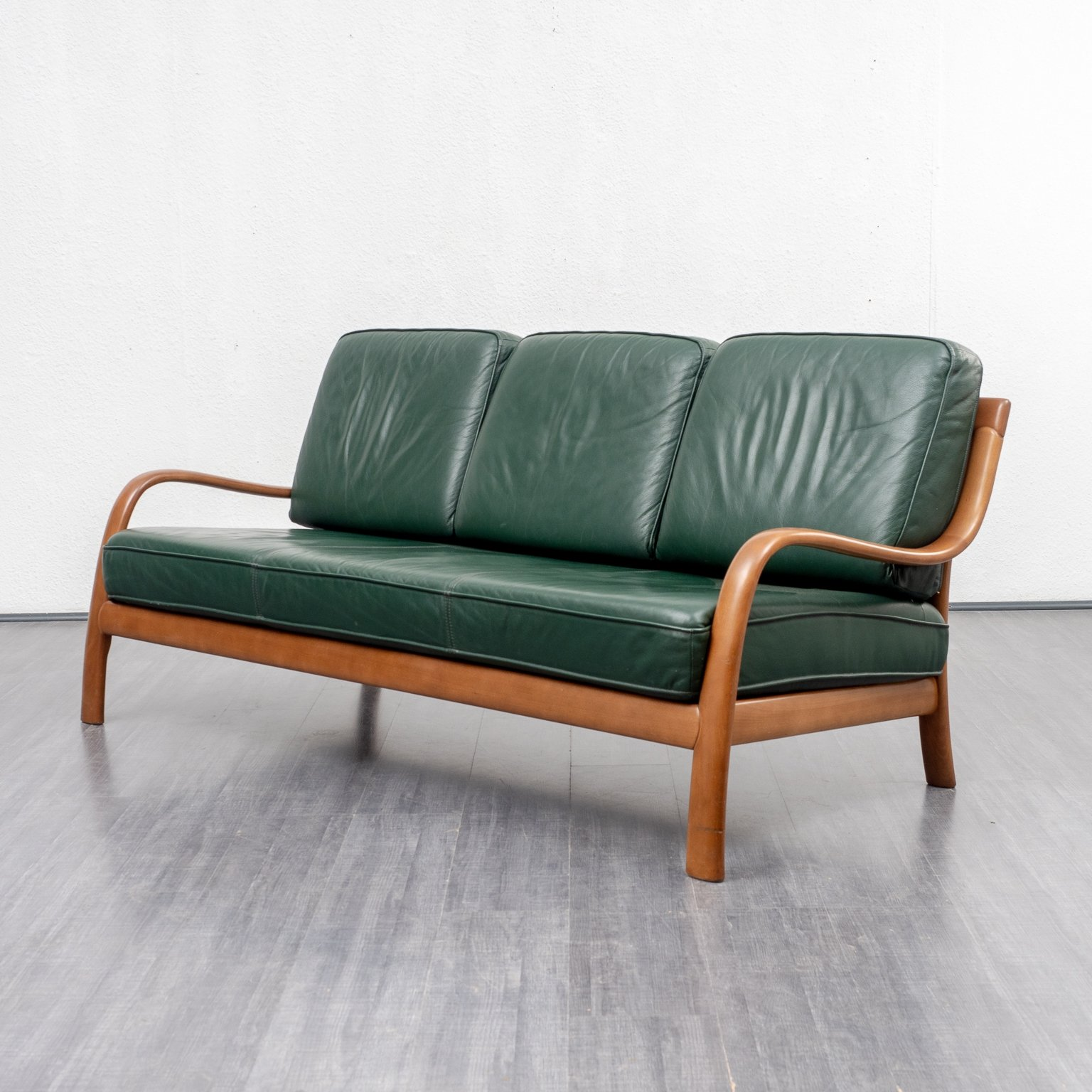 Green Leather Sofa With Beech Frame
