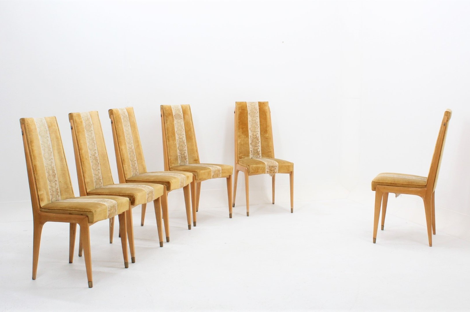Set Of 6 Mid Century Maple Blonde Wood Dining Chairs By Dassi 99033